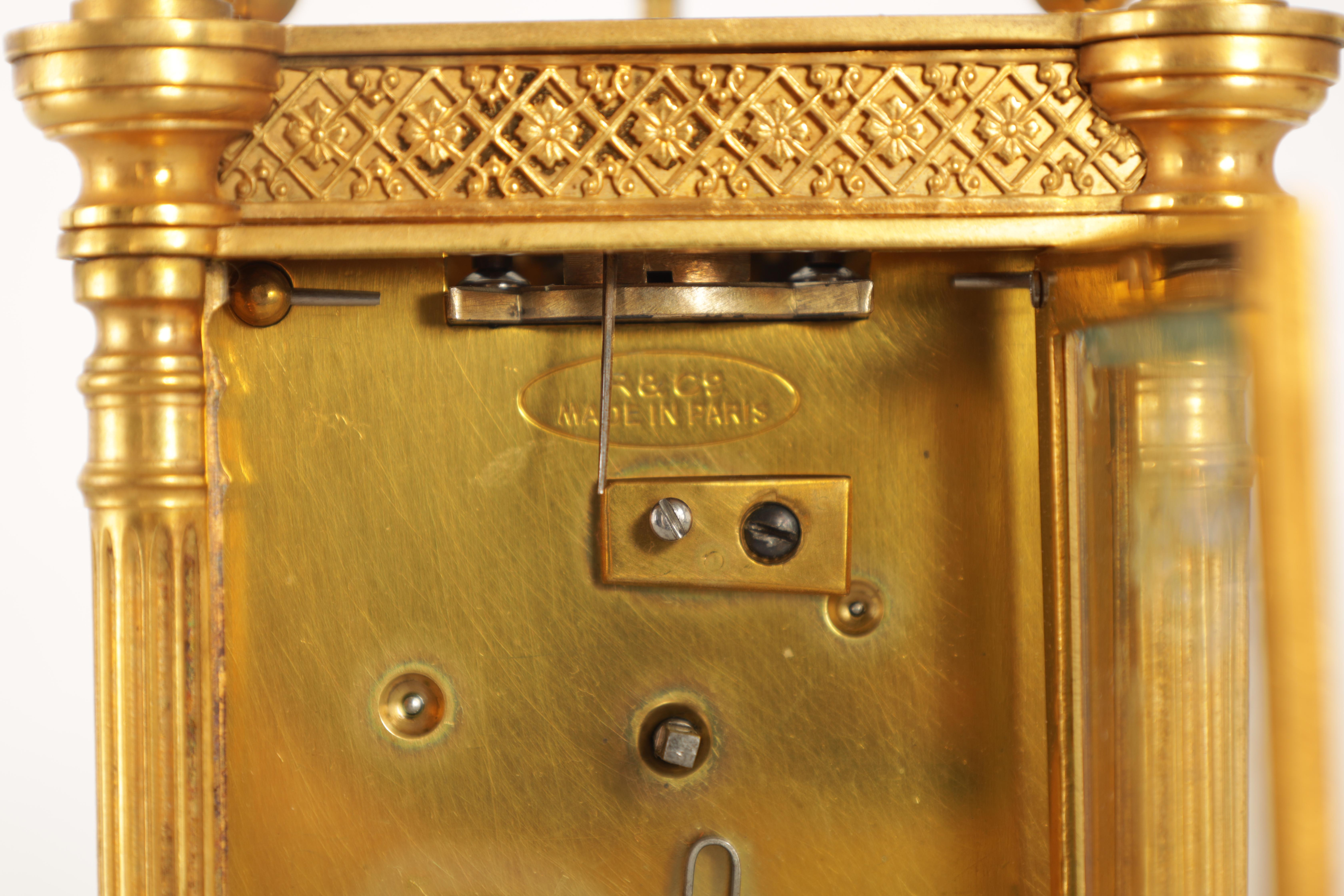 A LATE 19TH CENTURY FRENCH BRASS CARRIAGE CLOCK WITH CALENDAR the gilt case with pierced frieze - Image 6 of 6