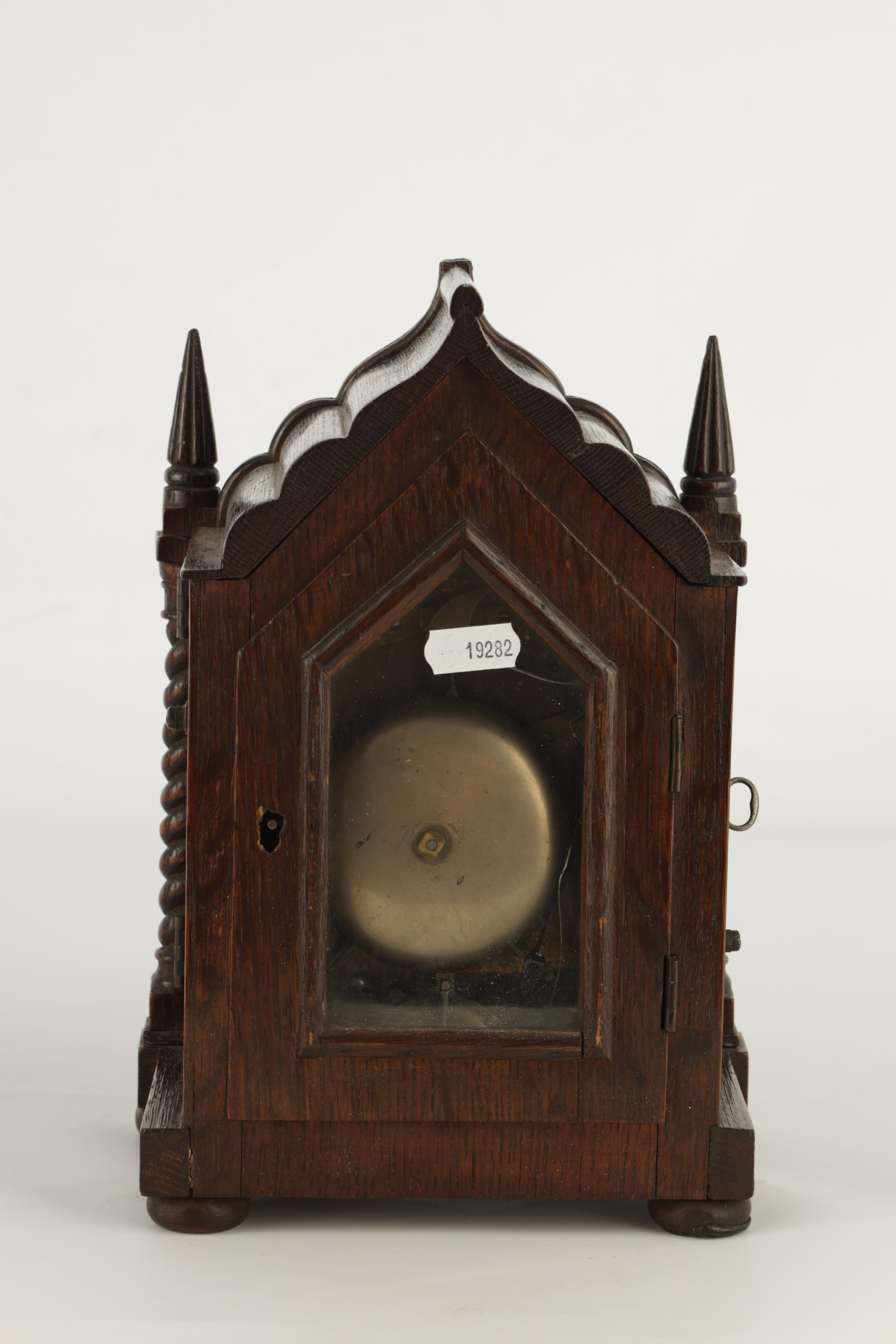 A SMALL MID 19TH CENTURY OAK CASED DOUBLE FUSEE MANTEL CLOCK the gothic style case with twisted - Image 4 of 7