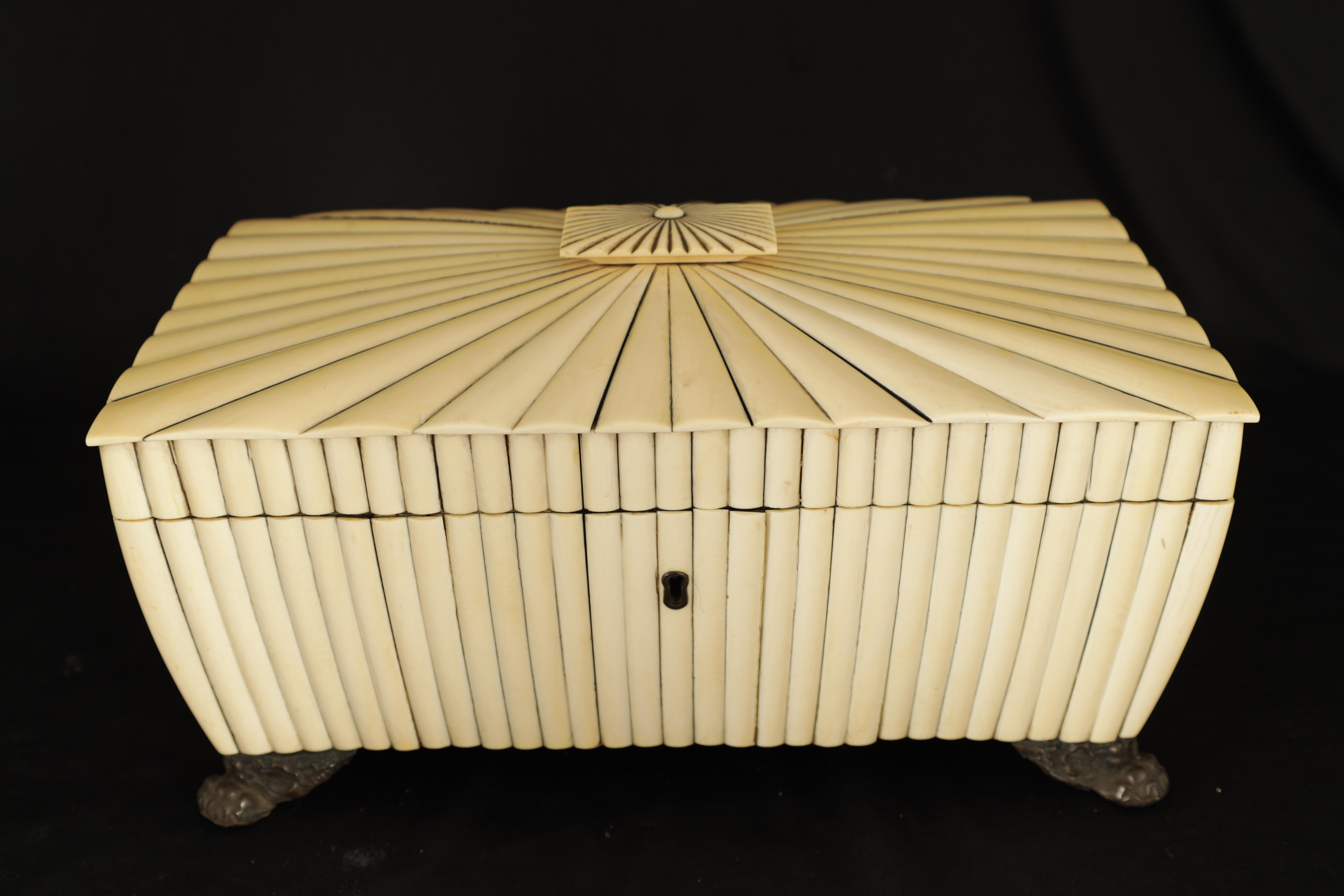 A REGENCY ANGLO-INDIAN IVORY AND SANDALWOOD VIZAGAPATAM TEA CADDY of sarcophagus form with gadroon - Image 5 of 12
