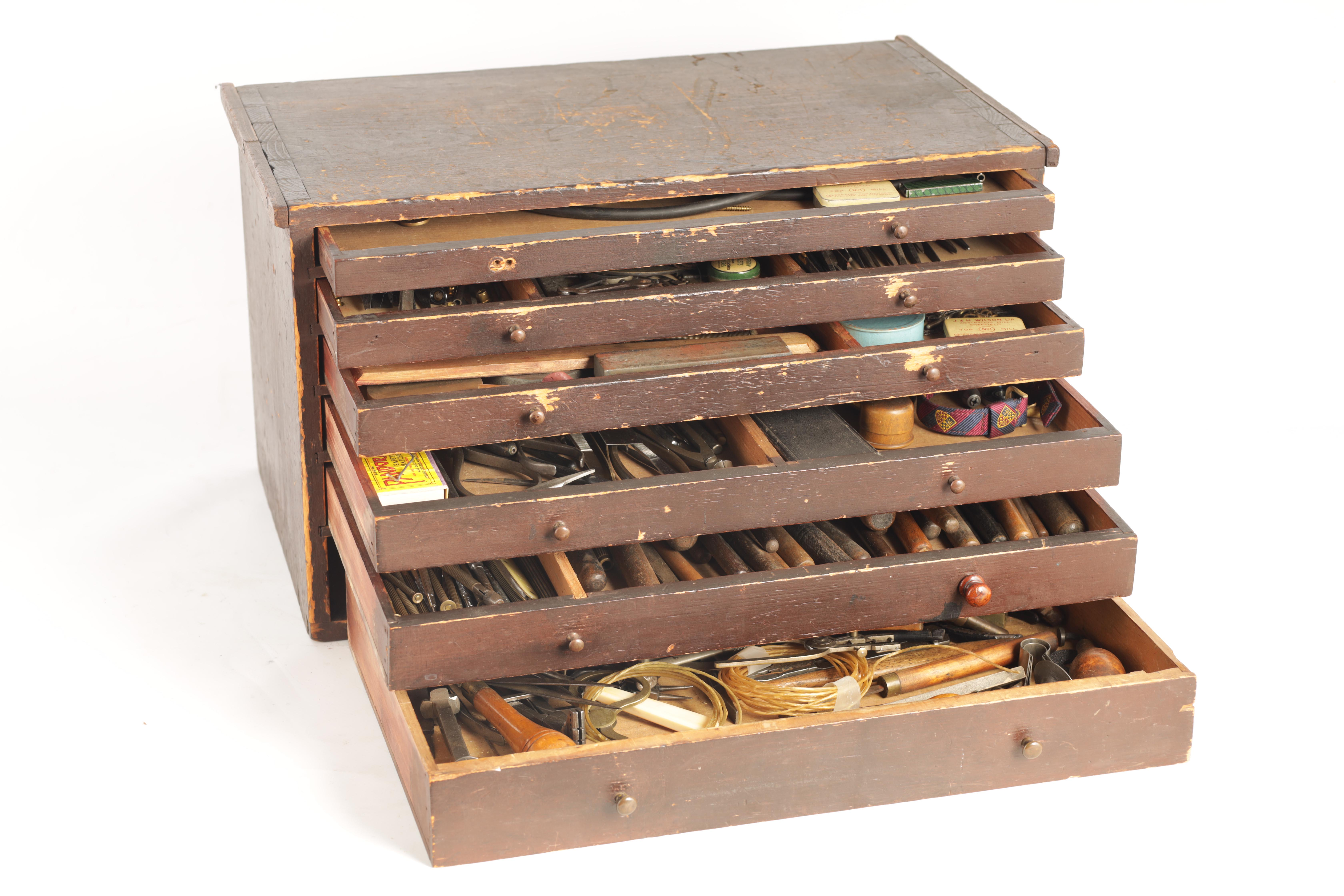 A LARGE COLLECTION OF JEWELERS AND WATCHMAKERS TOOLS contained in a set of pine drawers - Image 11 of 12