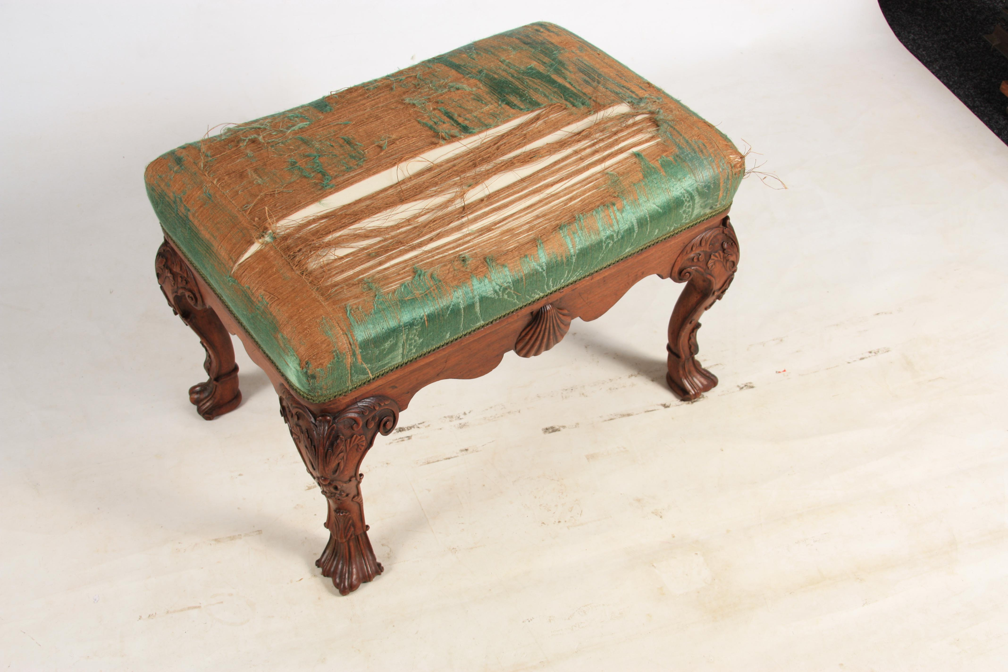 A MID 18TH CENTURY IRISH STYLE MAHOGANY DRESSING TABLE STOOL with upholstered top above shaped rails - Image 3 of 7