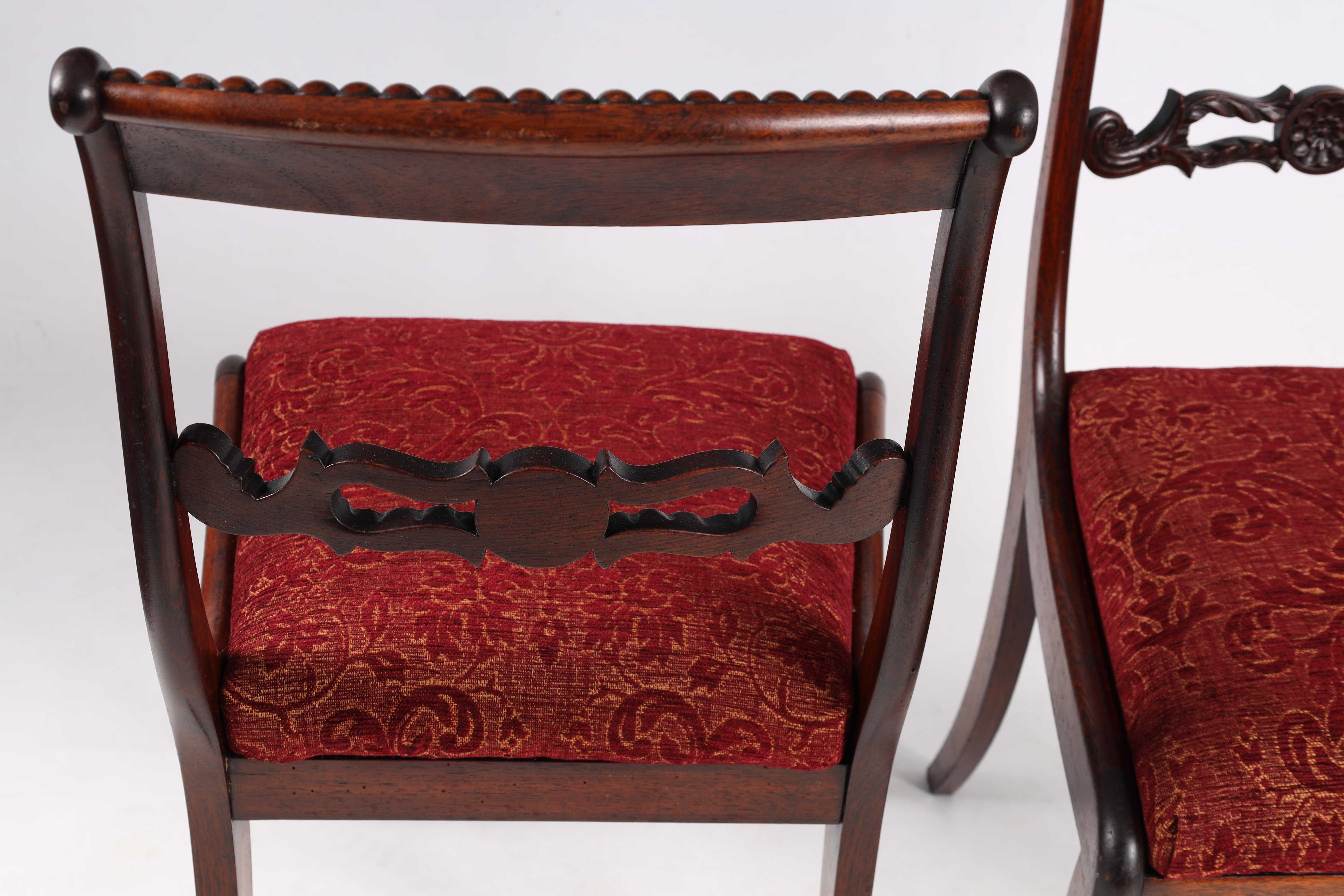A SET OF EIGHT REGENCY ROSEWOOD DINING CHAIRS having gadrooned back splats and carved stretchers, - Image 5 of 8