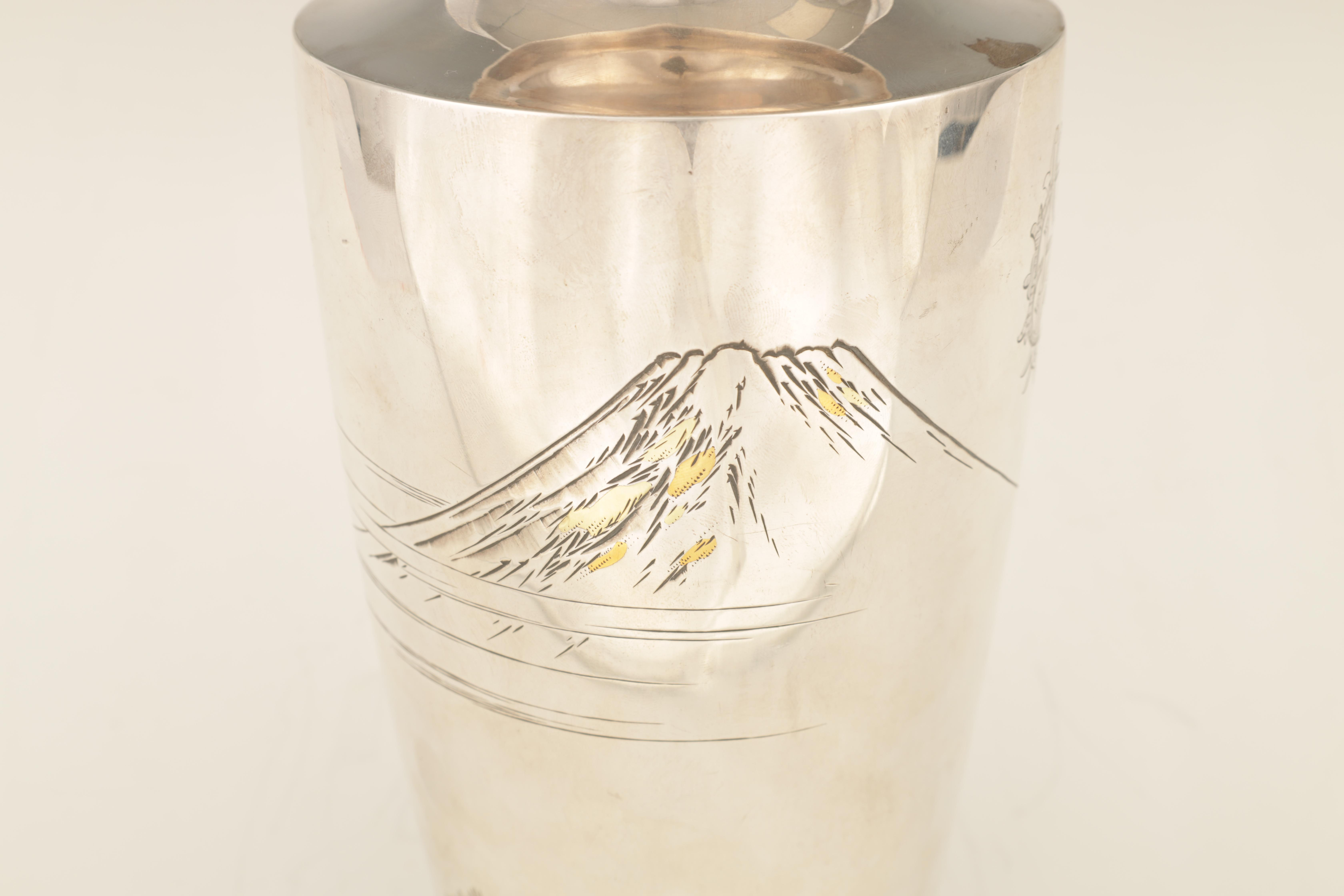 A LARGE JAPANESE MEIJI PERIOD SILVER VASE embellished with gilt highlights and engraved scene of - Image 6 of 6