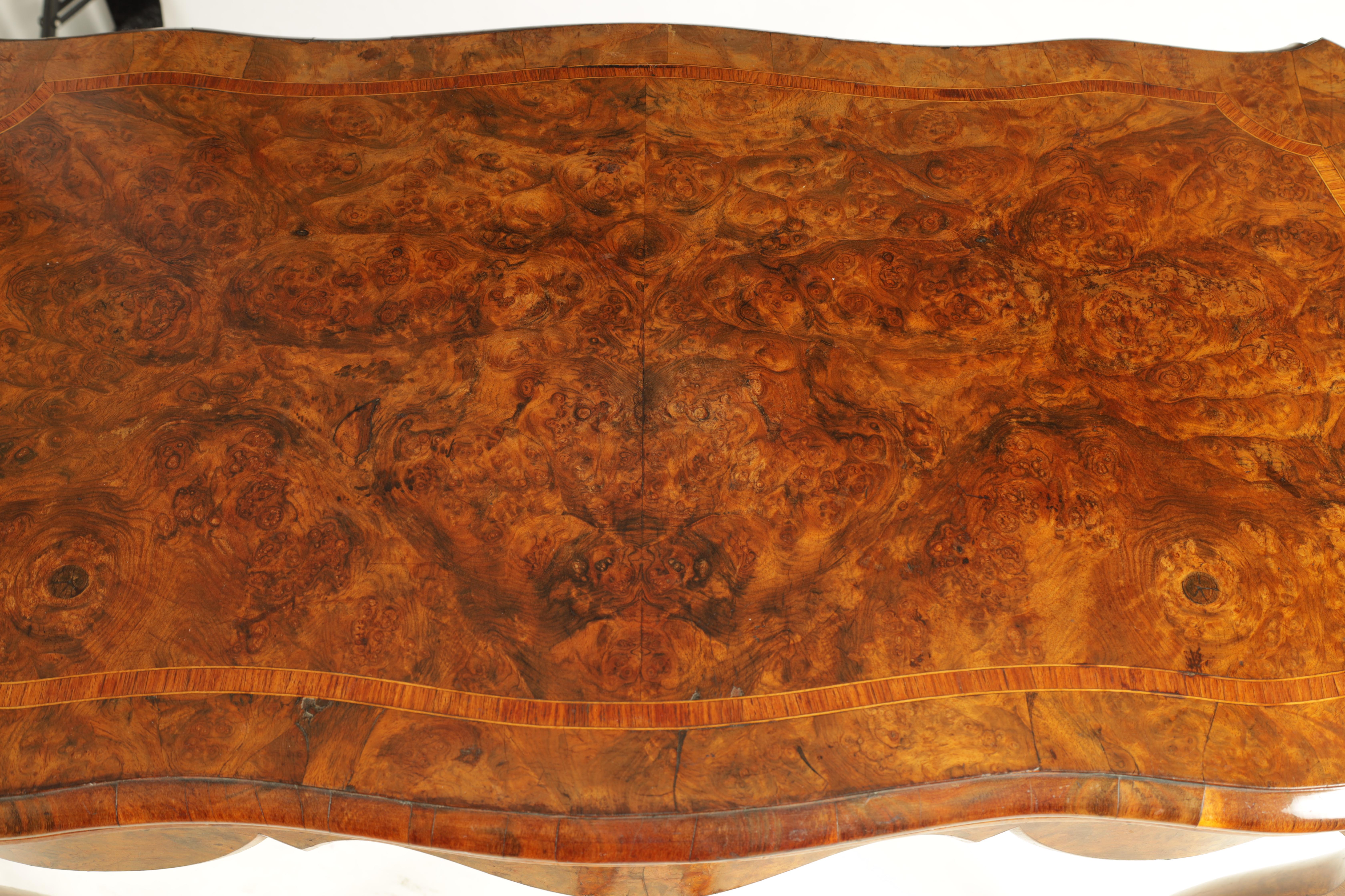 A 19TH CENTURY FRENCH KINGWOOD CROSS-BANDED BURR WALNUT SERPENTINE CARD TABLE with ormolu mounts and - Image 4 of 13