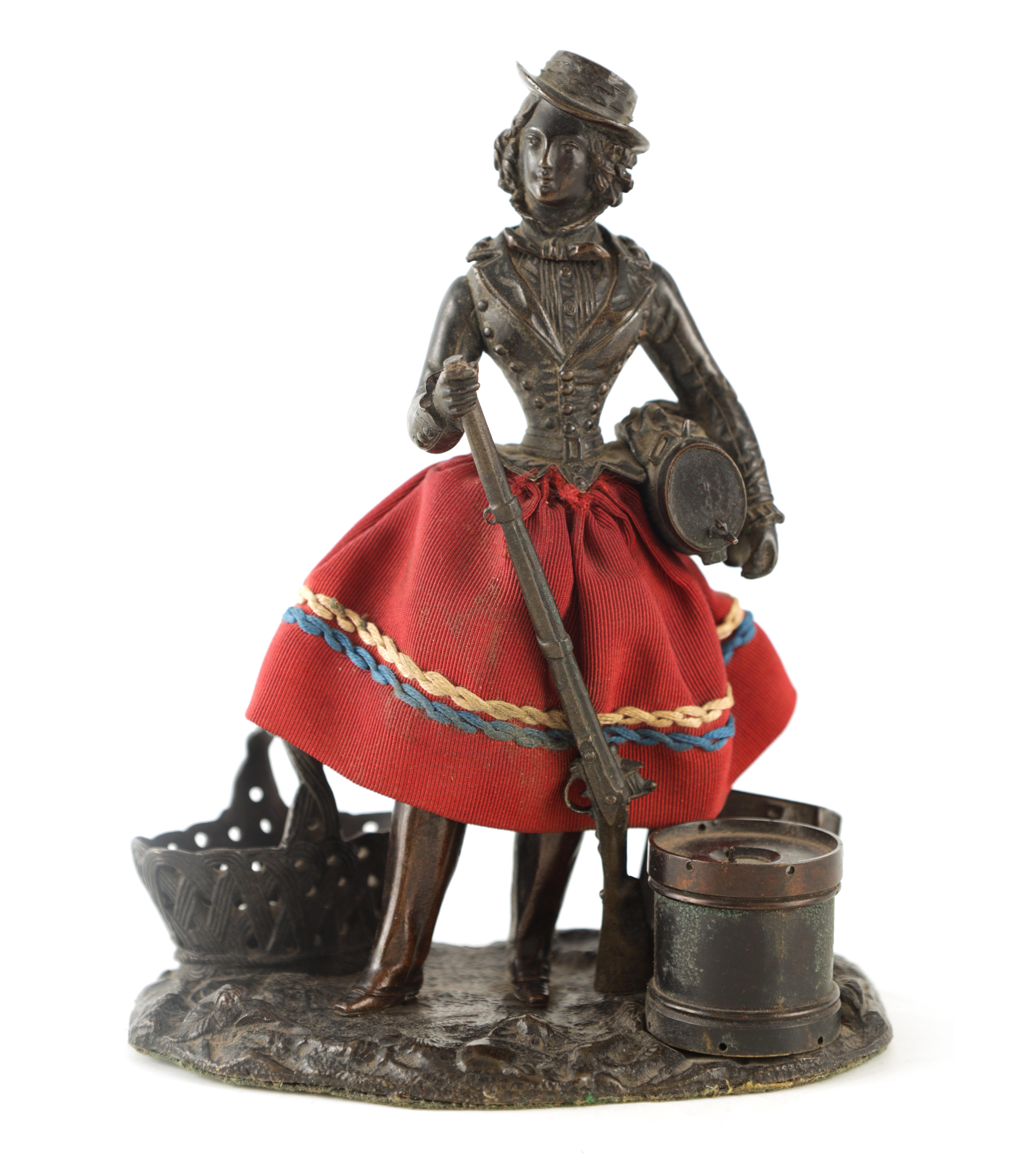 A LATE 19TH CENTURY NOVELTY BRONZE DESK COMPENDIUM DEPICTING A LADY HOLDING A RIFFLE with red