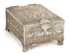 A 19TH CENTURY SILVERED BRONZE JEWELLERY CASKET the lid with intricate relief groups of birds,