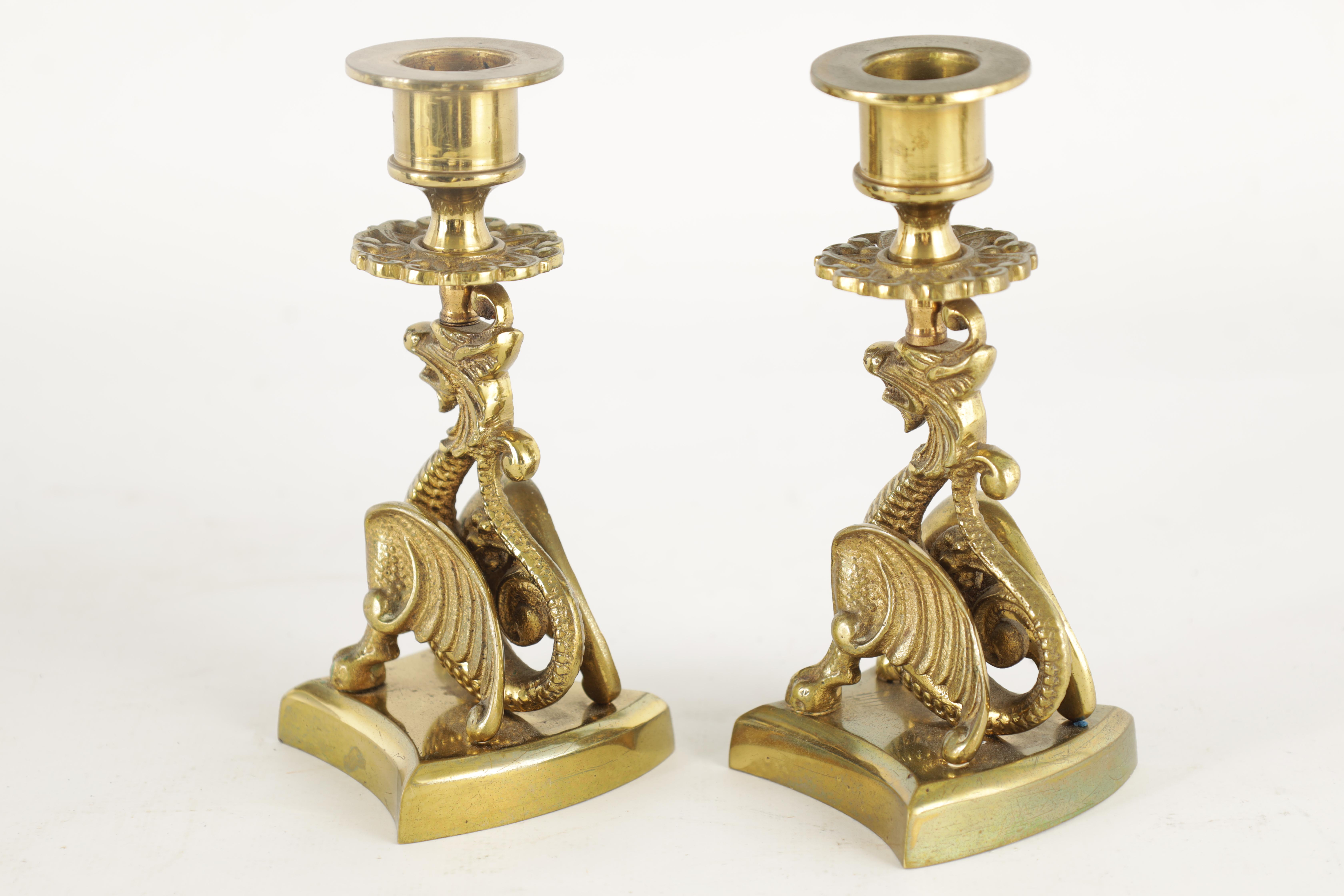 A PAIR OF ORIENTAL STYLE BRASS CANDLESTICKS with crouching dragon and shaped bases 14cm high - Image 11 of 11