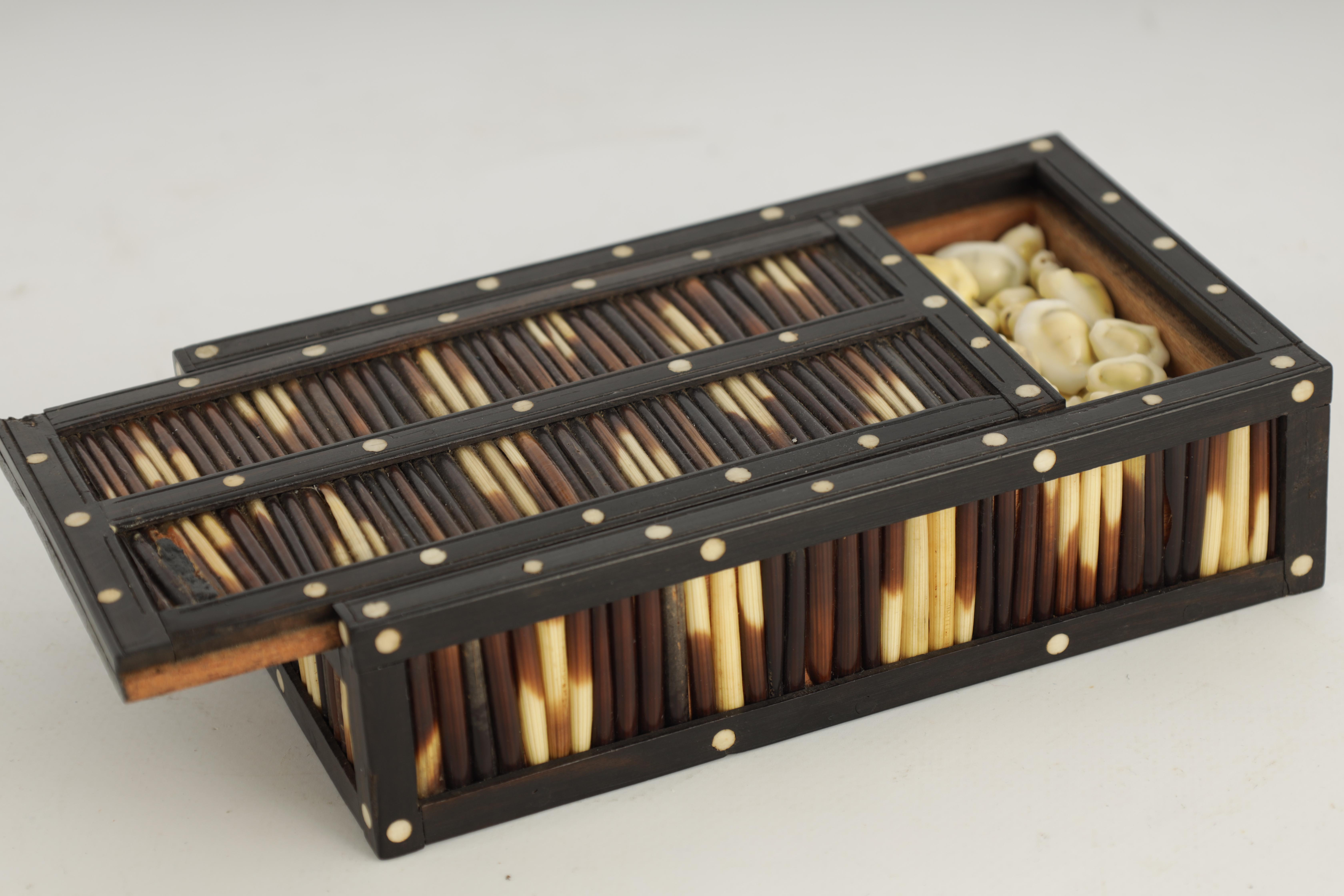 A 19TH CENTURY QUILL BOX with ebony and bone inlaid edges 17cm wide 9.5cm deep 4.5cm high - Image 5 of 7