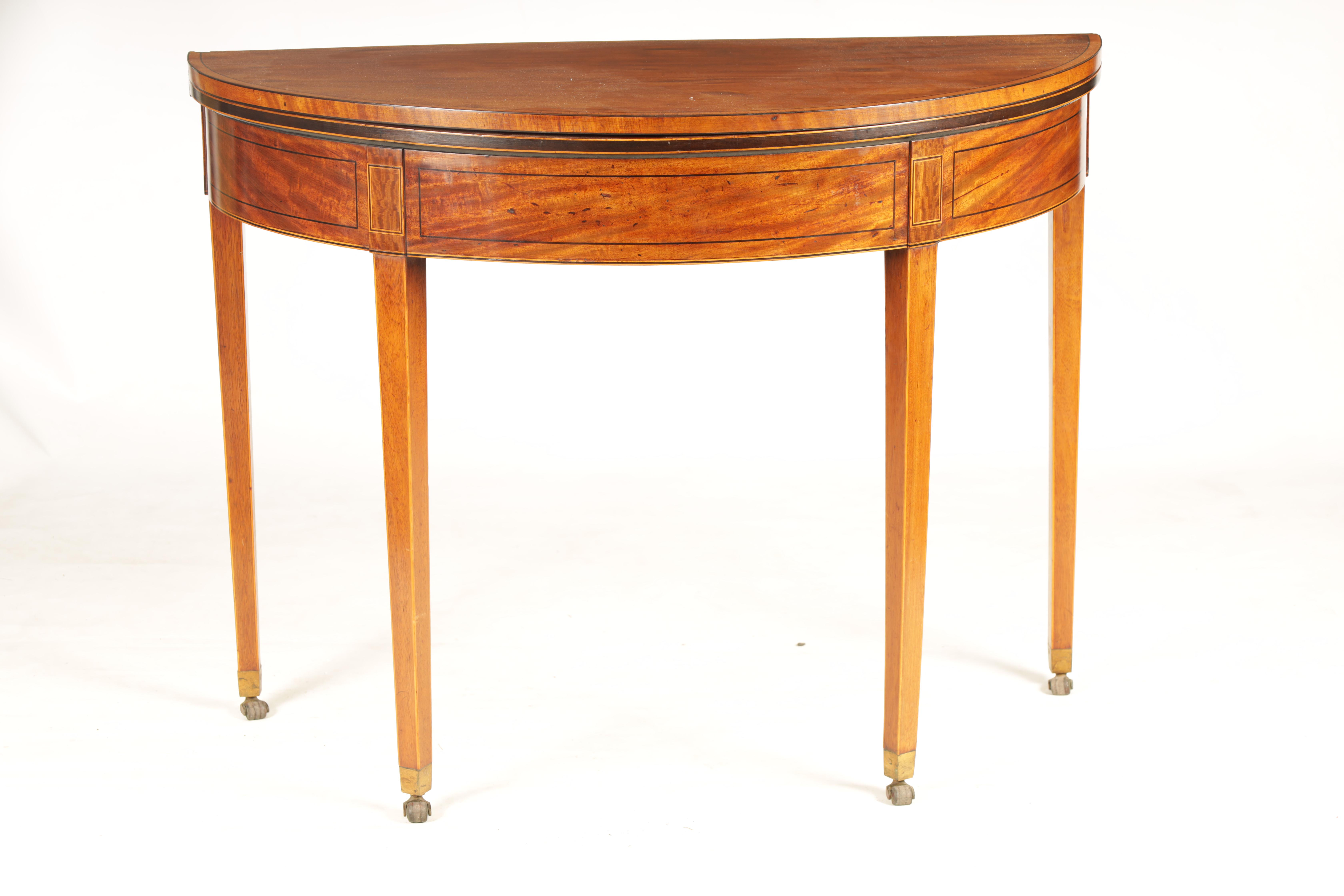 A GEORGE III FIGURED SATINWOOD D END TEA TABLE with hinged top and double gate rear legs; standing - Image 2 of 8