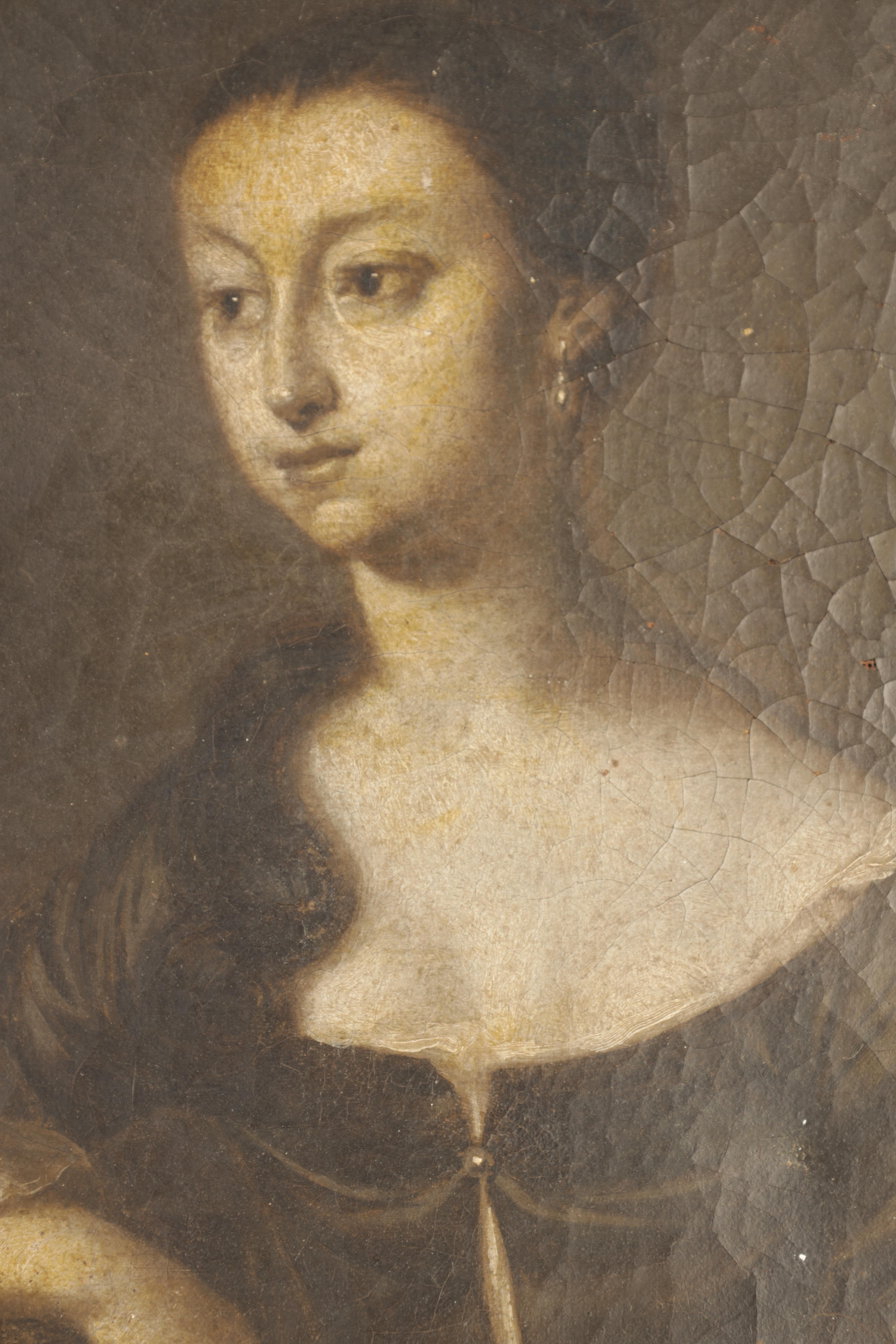 """AN 18TH CENTURY OIL ON CANVAS MONOCHROME PORTRAIT OF A YOUNG LADY inscribed on reverse """"Jane ?? - Image 2 of 5"""