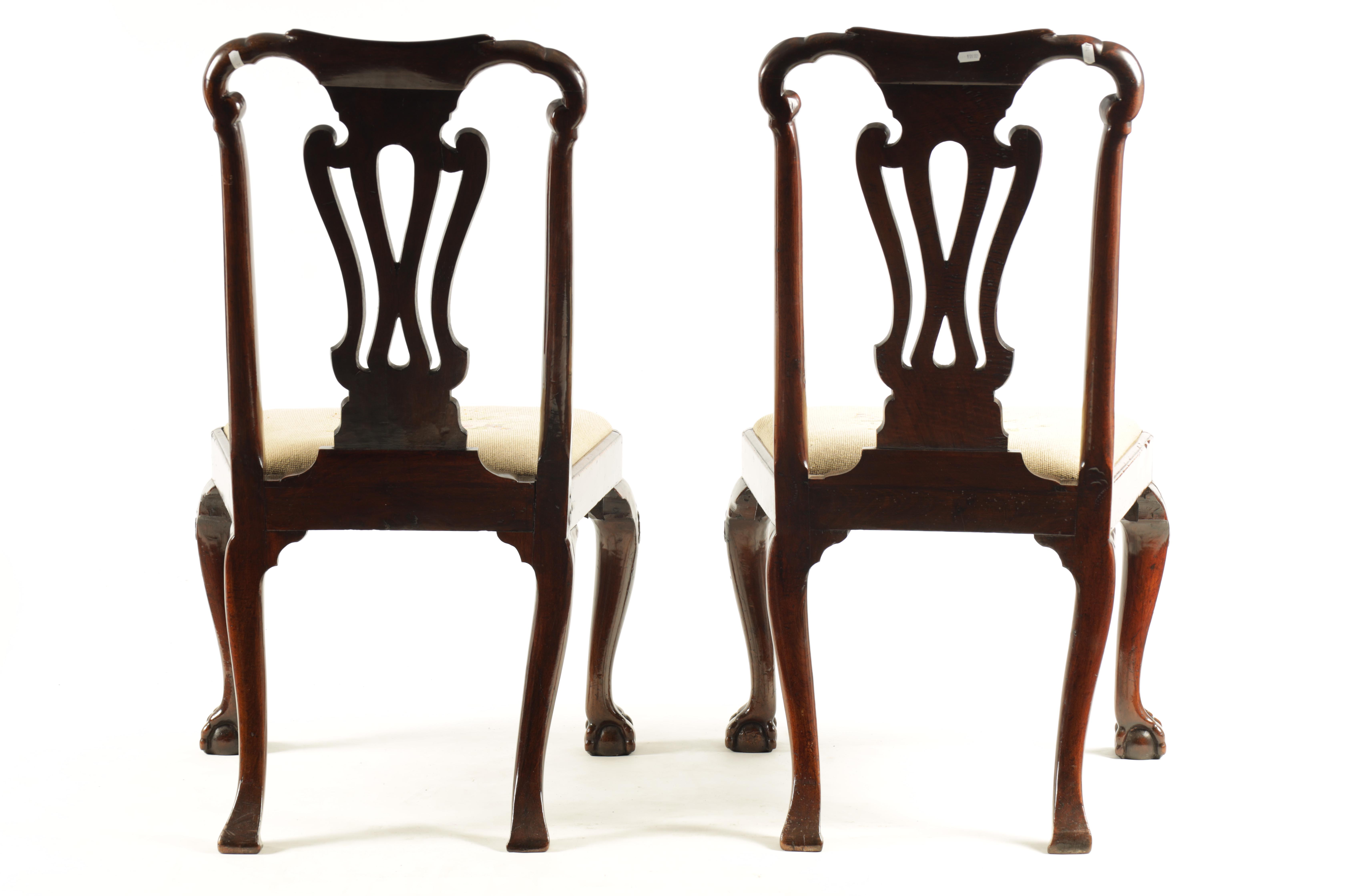 A PAIR OF GEORGE I WALNUT SIDE CHAIRS with leaf carved and scrolled top rails above vase-shaped - Image 9 of 12