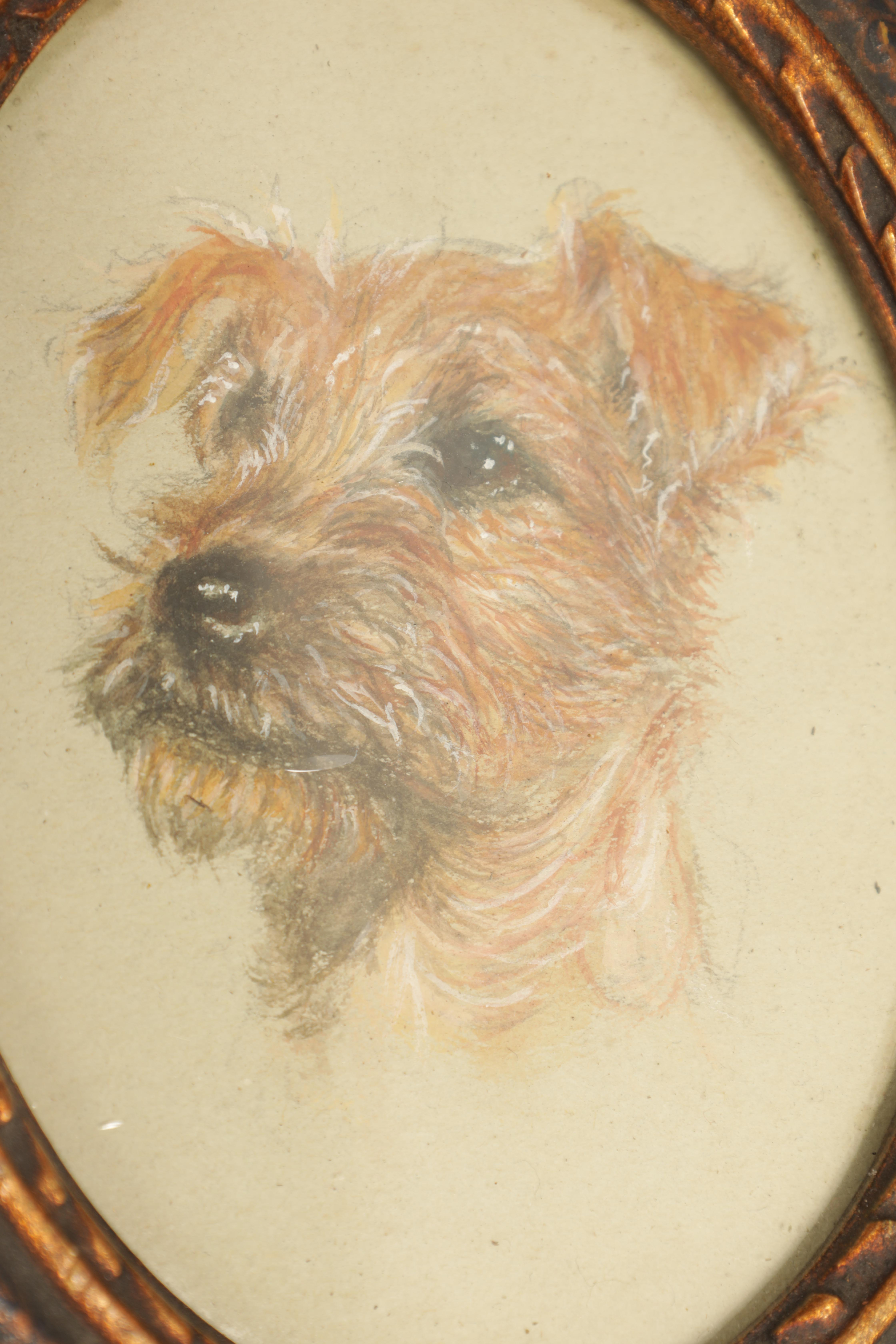 A LATE 19TH CENTURY WATERCOLOUR OVAL PORTRAIT OF A TERRIER 11cm high 8cm wide mounted in a lacquered - Image 7 of 14