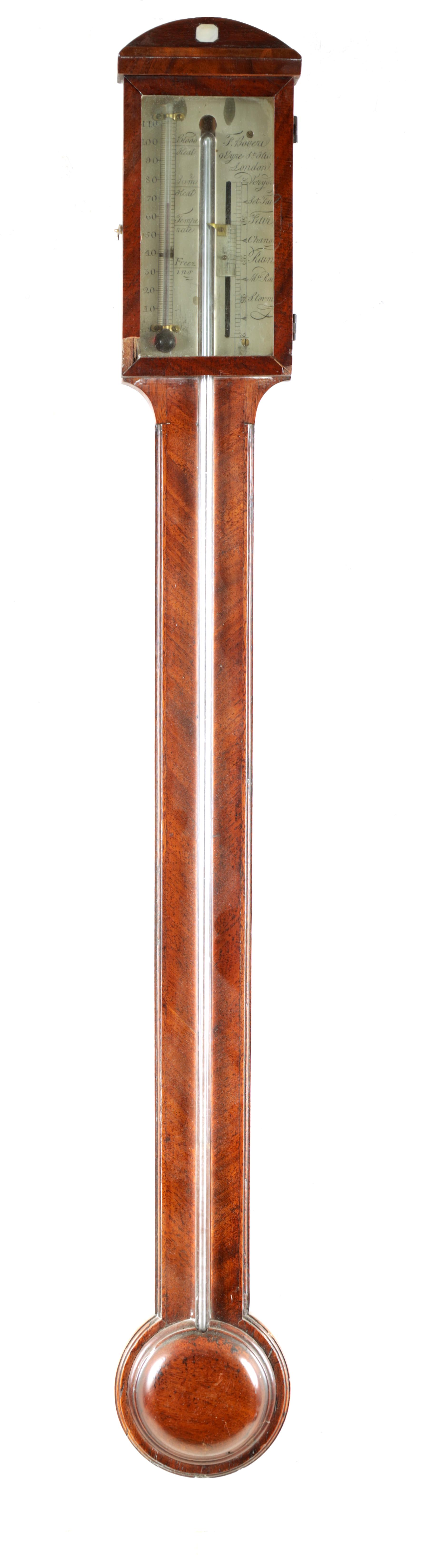 F. BOVERIL, 9 EYRE STREET, HILL, LONDON A GEORGE III MAHOGANY STICK BAROMETER the case with arched