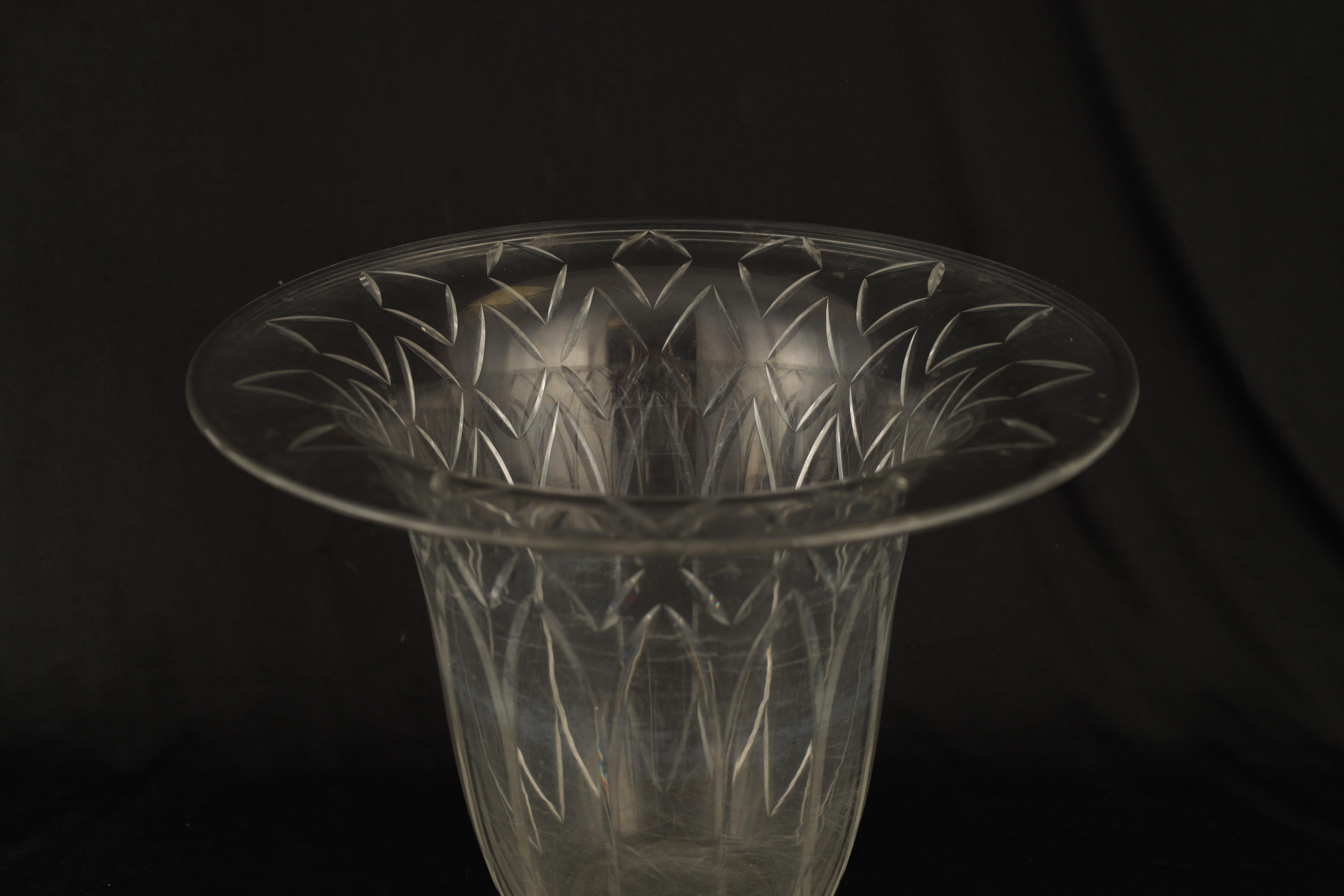 AN EARLY 20TH CENTURY BACCARAT CLEAR GLASS VASE having flared rim and wheel cut petal and diamond - Image 2 of 6