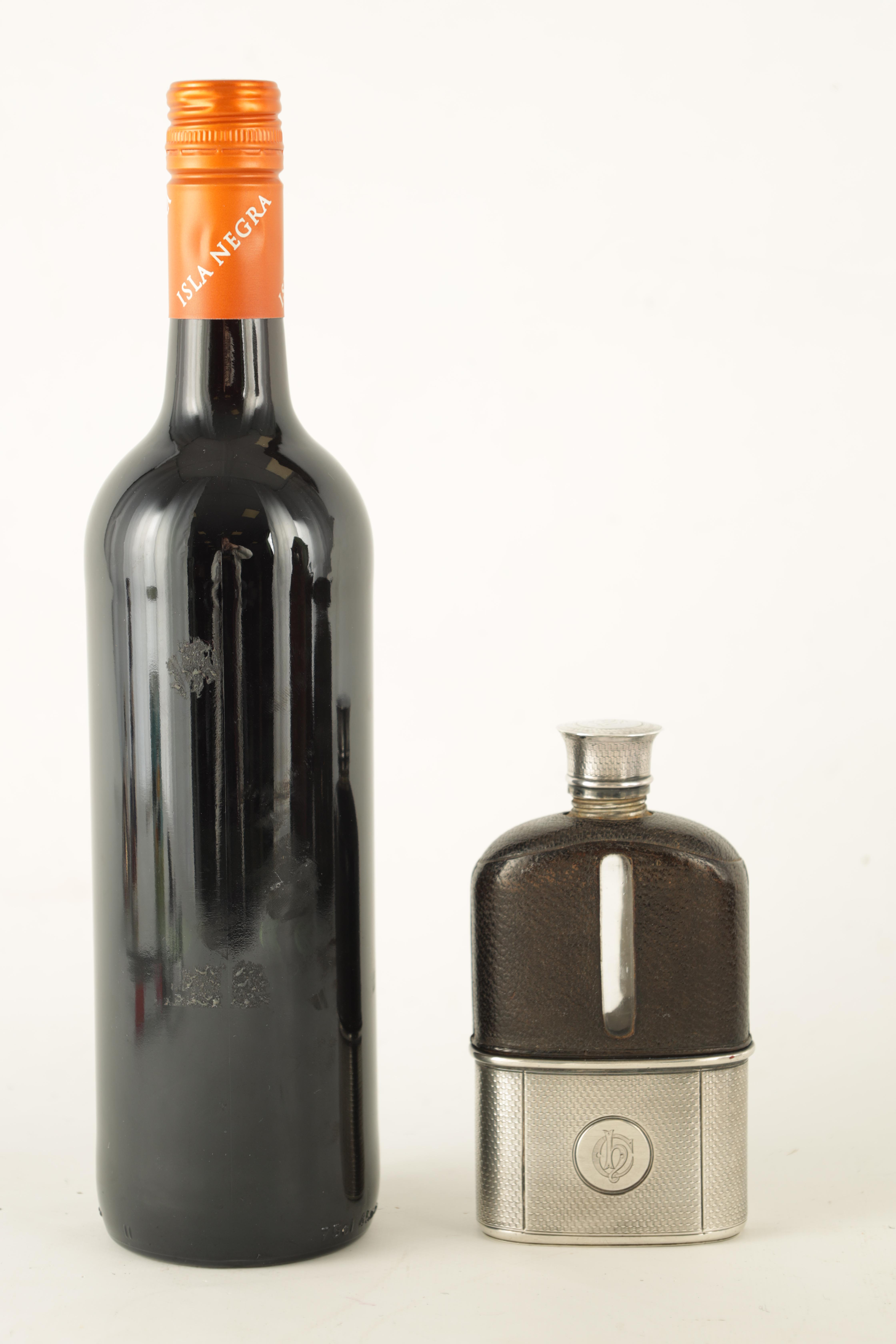 A VICTORIAN SILVER AND MOROCCAN LEATHER HIP FLASK RETAILED BY ASPREY 186 BOND STREET with engine- - Image 2 of 8