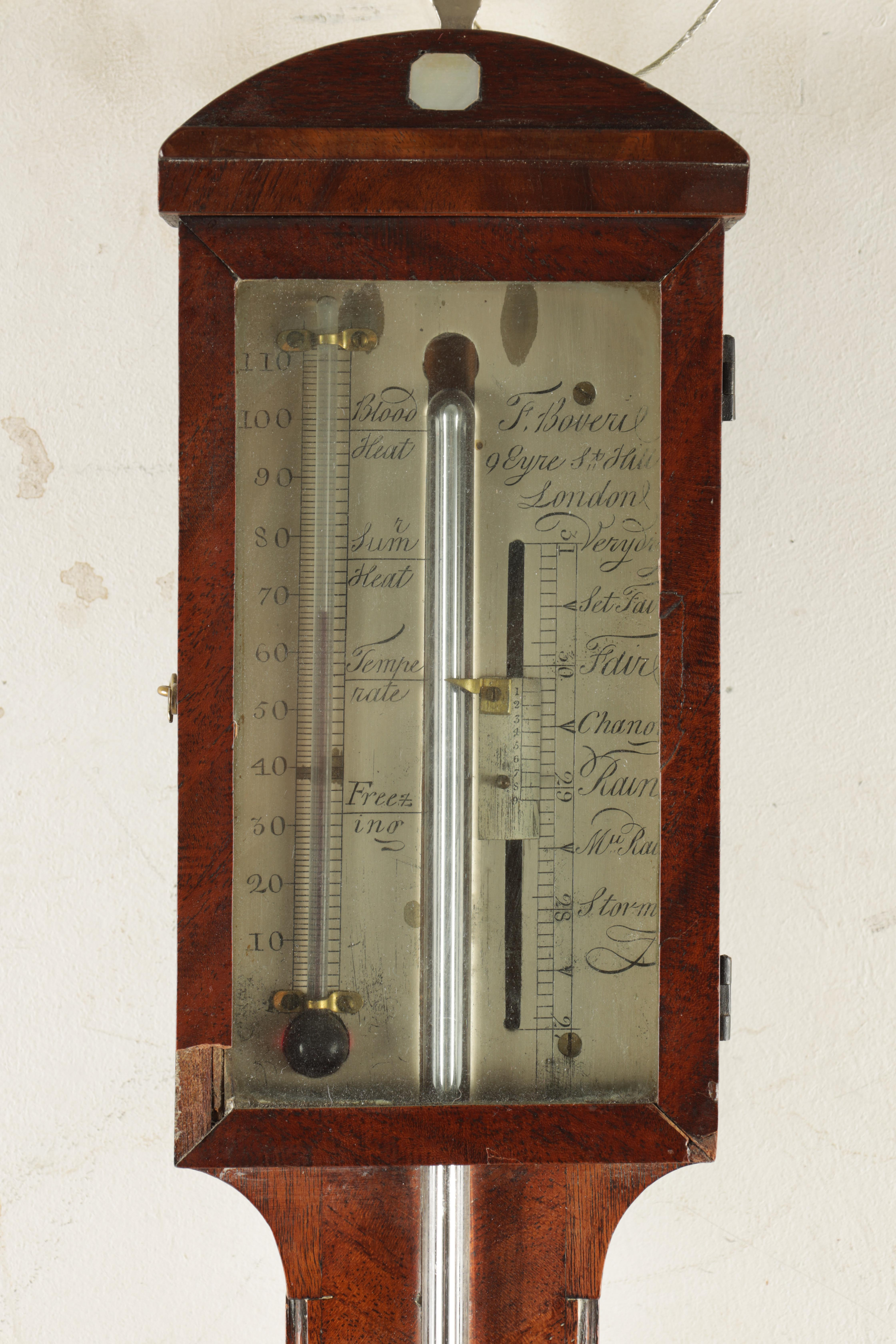 F. BOVERIL, 9 EYRE STREET, HILL, LONDON A GEORGE III MAHOGANY STICK BAROMETER the case with arched - Image 4 of 6