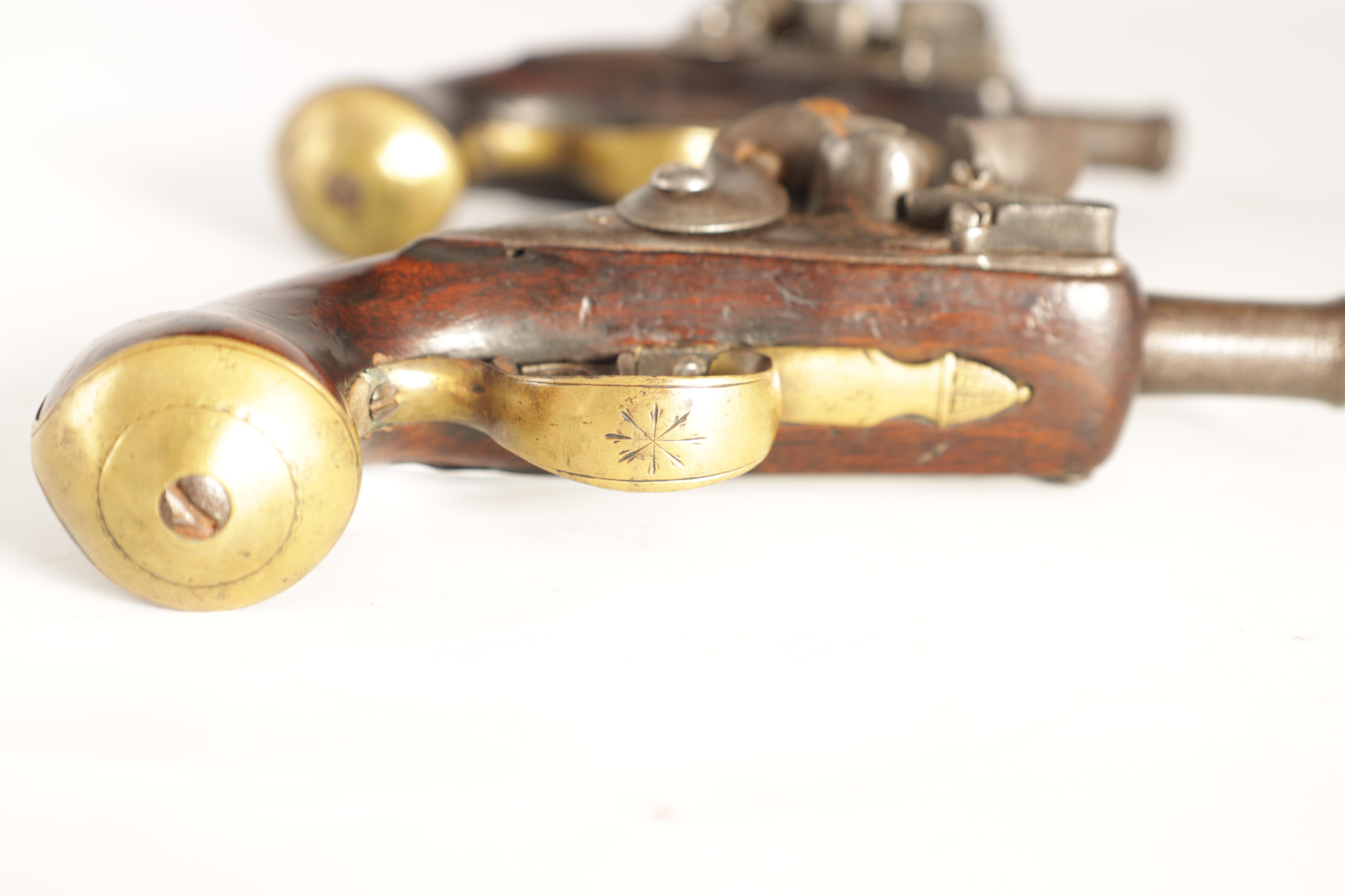 T. JONES. A PAIR OF EARLY 18TH CENTURY FLINTLOCK POCKET PISTOLS with turn-off cannon barrel, - Image 5 of 14