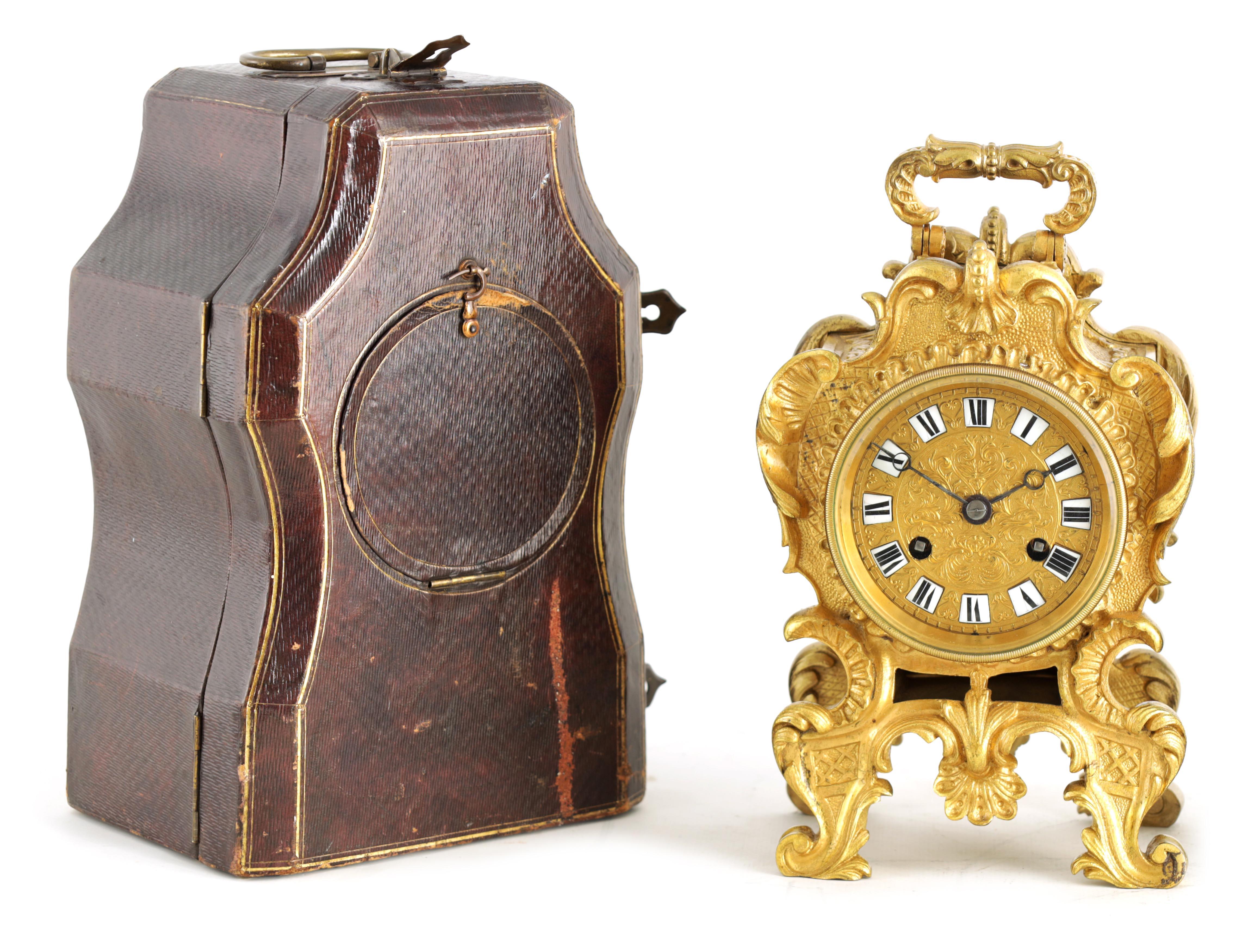 PAUL GARNIER, PARIS A MID 19TH CENTURY FRENCH TRAVELLING MANTEL CLOCK the gilt bronze rococo style