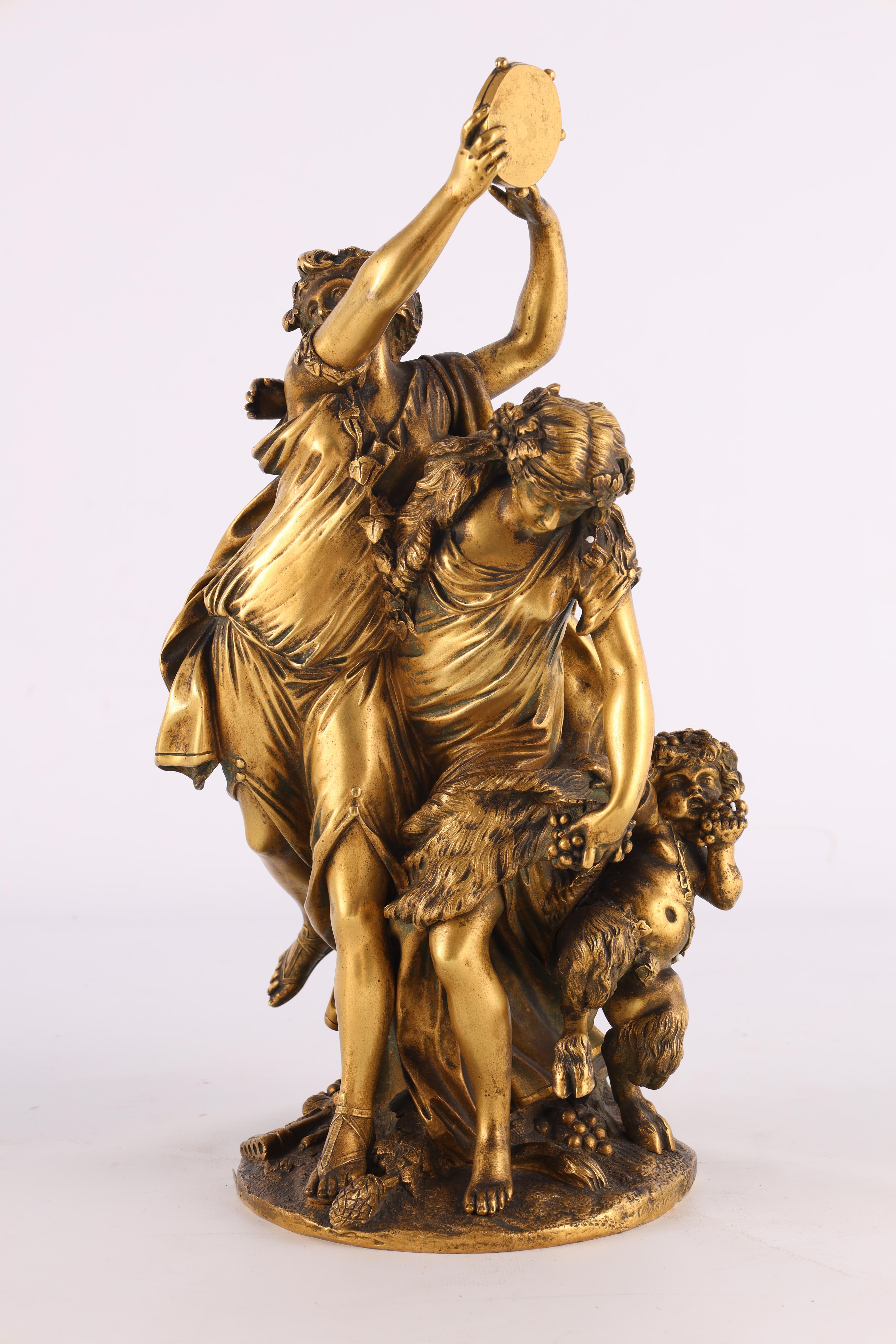 AFTER MICHAEL CLAUDE CLODION A LATE 19TH CENTURY FRENCH GILT BRONZE SCULPTURE titled 'Bacchanalia' - Image 2 of 10