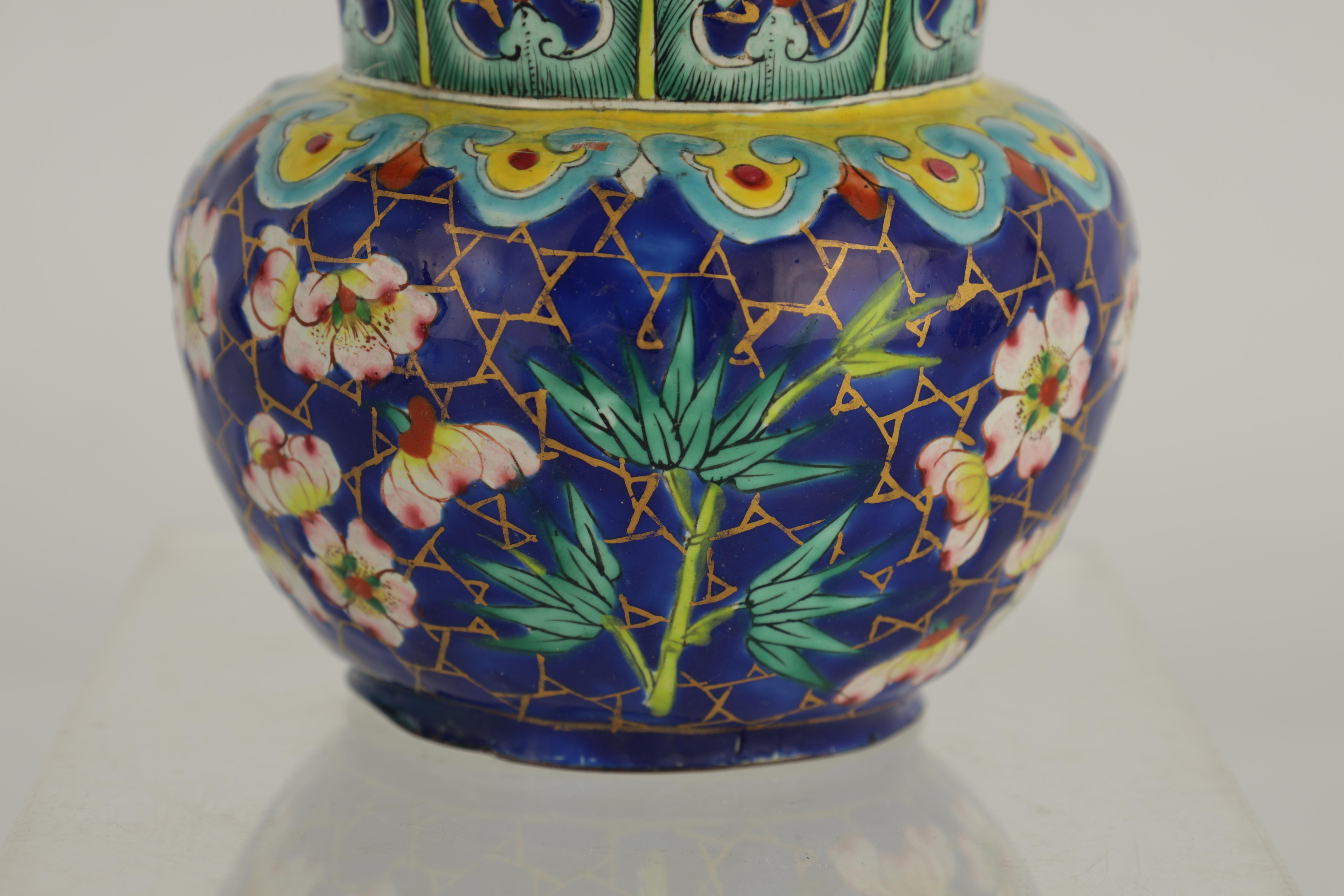 AN EARLY 19TH CENTURY CHINESE ENAMEL VASE of bulbous form with brightly coloured enamel decoration - Image 4 of 5