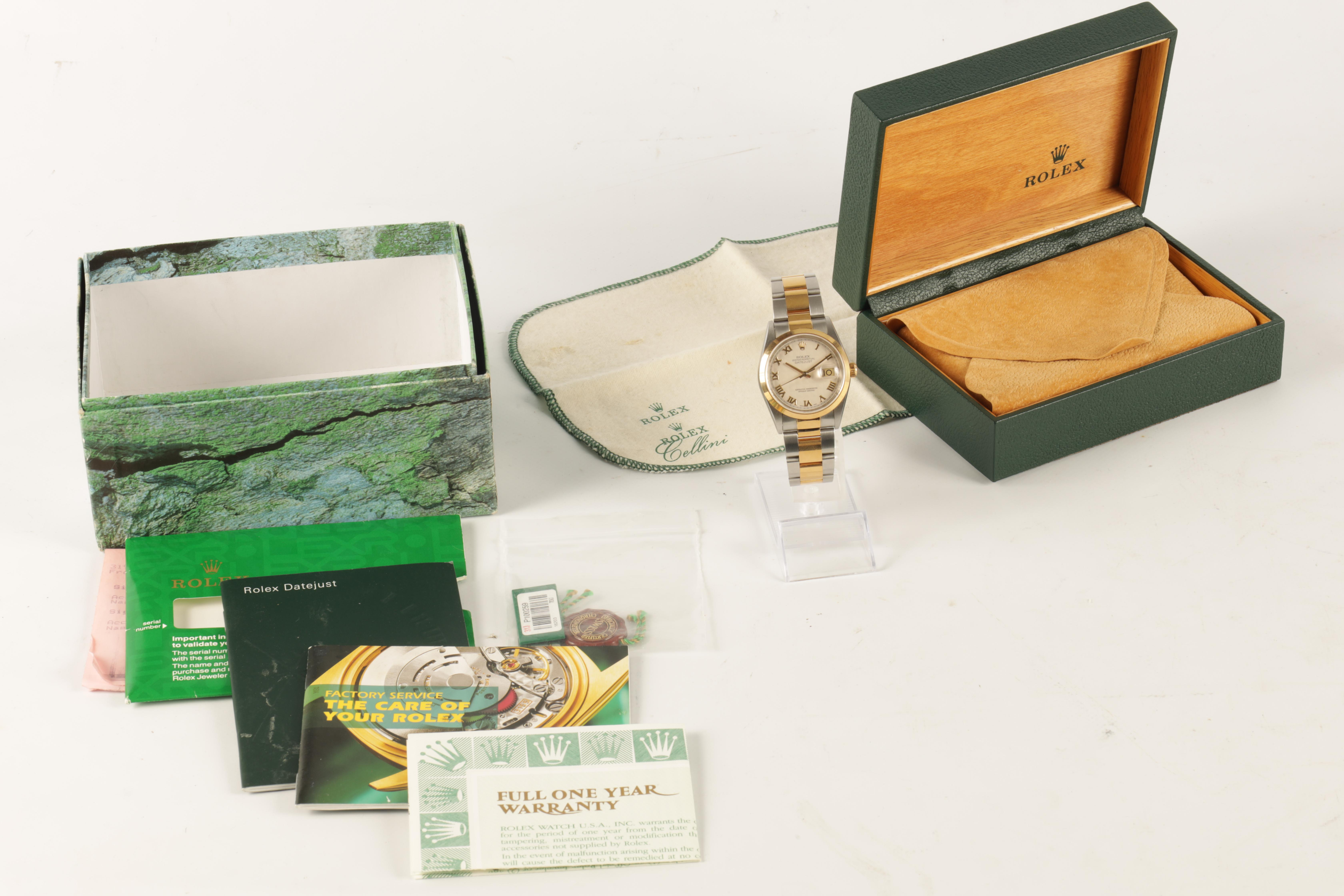 A GENTLEMAN'S STEEL AND 18CT GOLD ROLEX OYSTER PERPETUAL DATEJUST WRISTWATCH having an ivory pyramid - Image 2 of 5