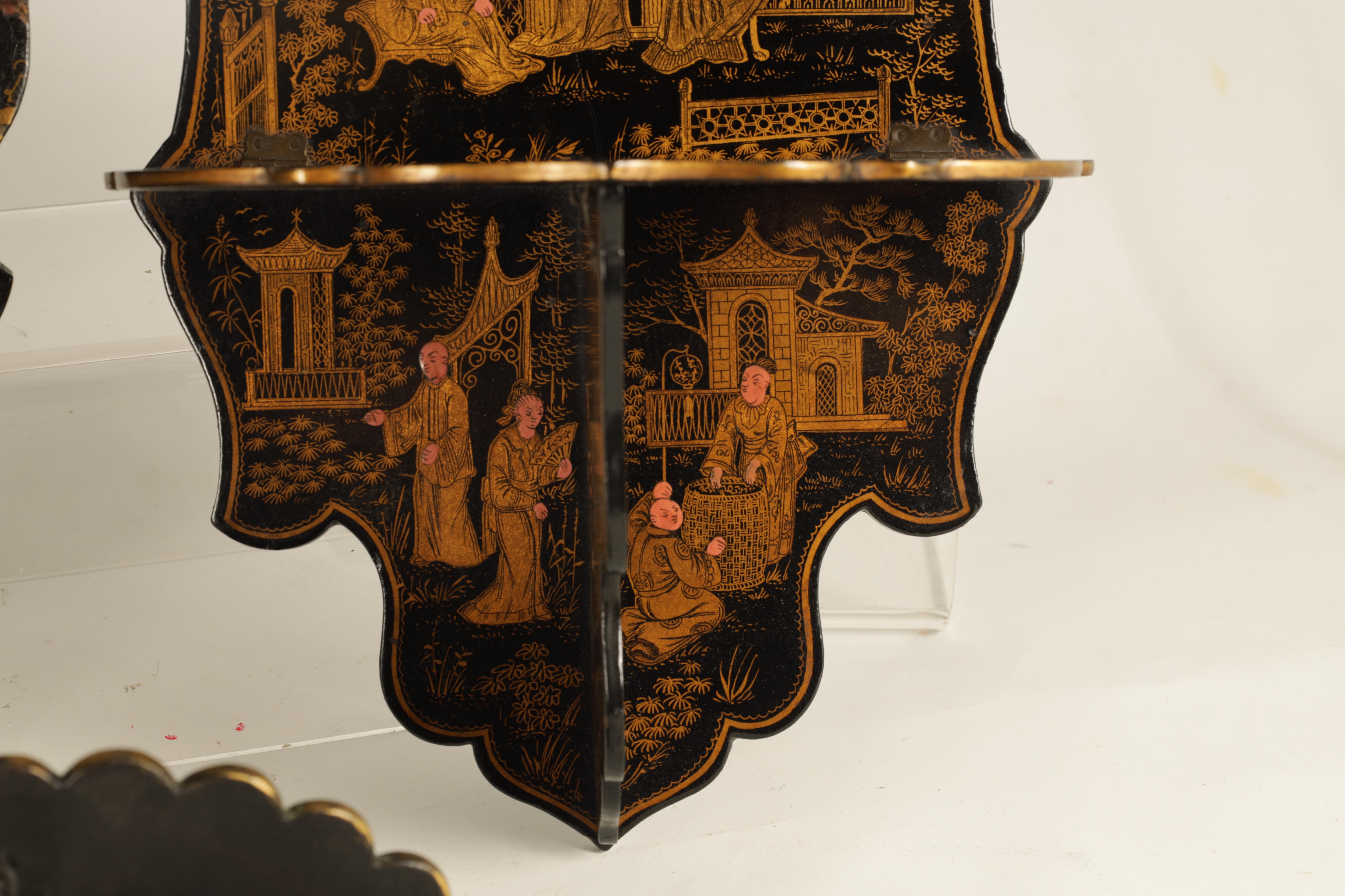 A GROUP OF THREE LATE 19TH CENTURY JAPANESE BLACK LACQUER FOLDING HANGING BRACKETS of shaped form - Image 6 of 12