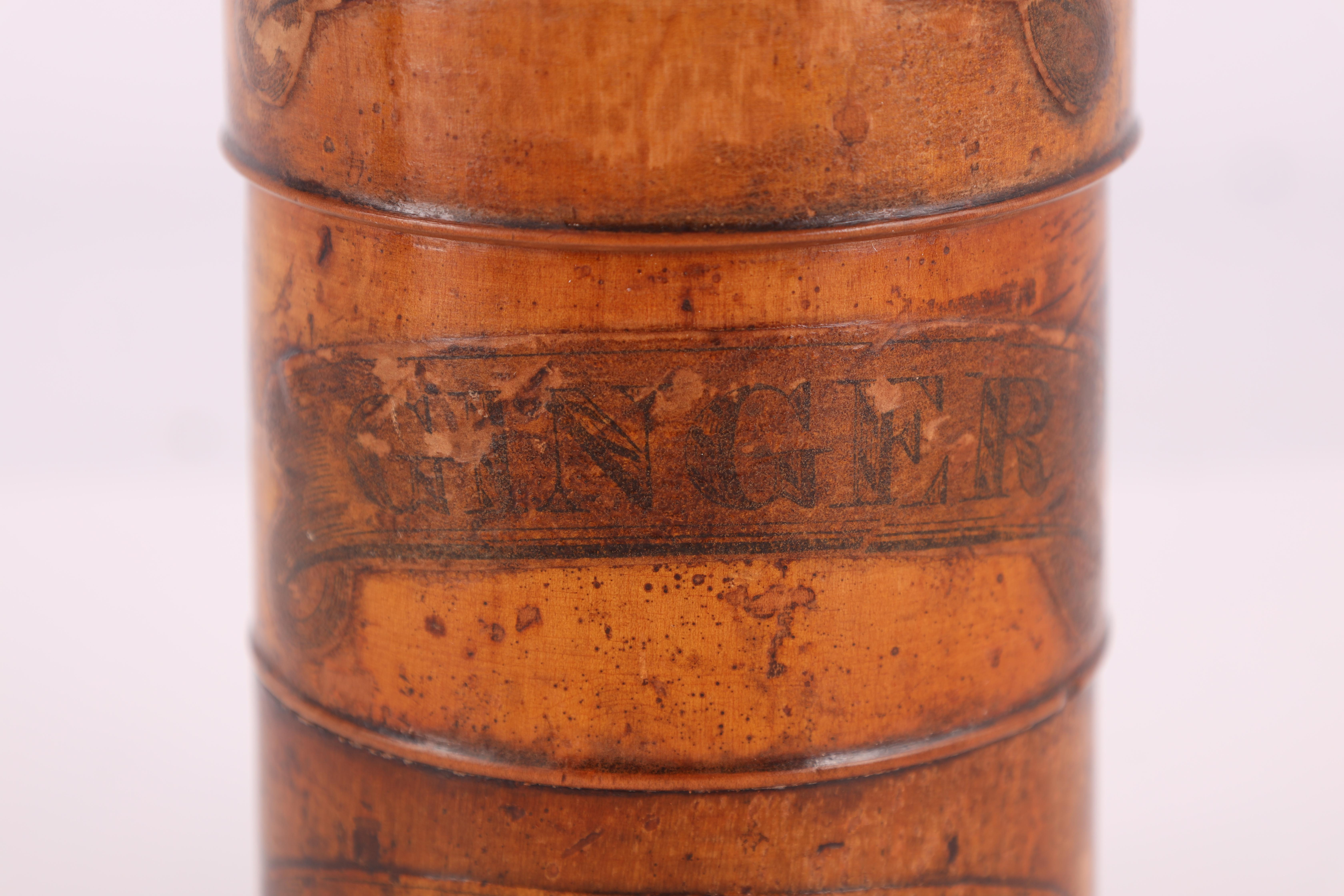 TWO EARLY 19TH CENTURY SYCAMORE TREEN SPICE TOWERS with original labels, the three stack 15cm - Image 9 of 13