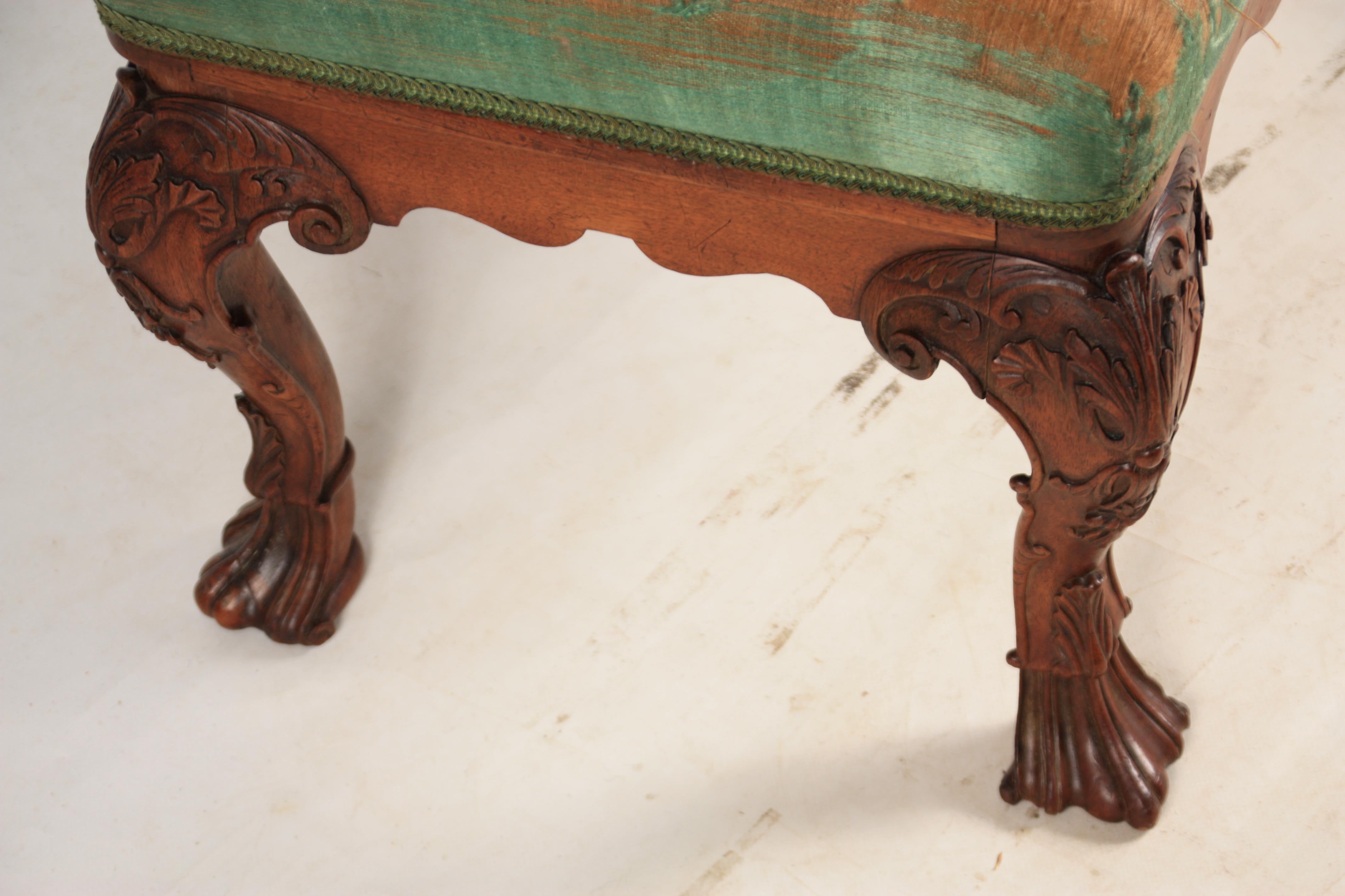 A MID 18TH CENTURY IRISH STYLE MAHOGANY DRESSING TABLE STOOL with upholstered top above shaped rails - Image 4 of 7