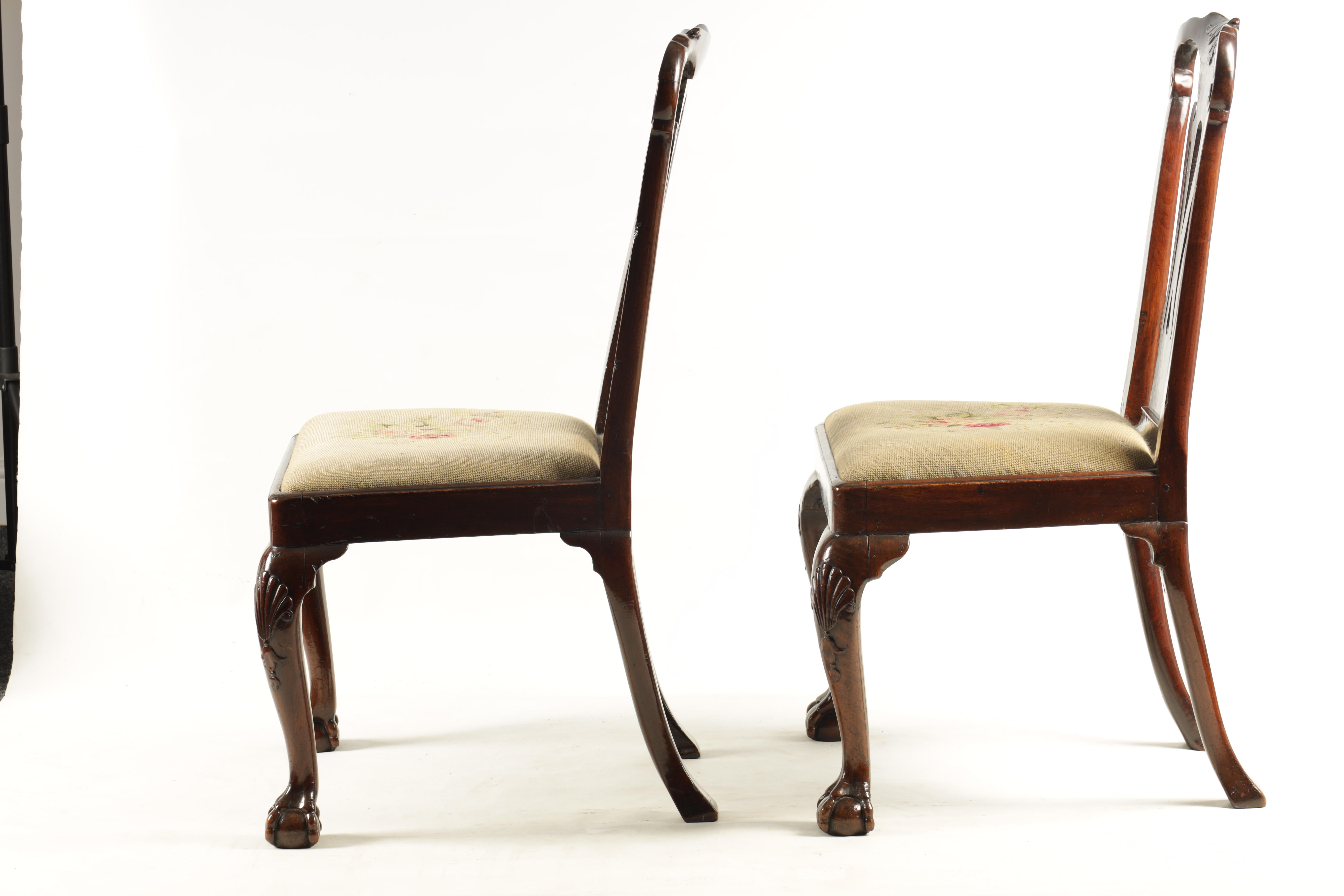 A PAIR OF GEORGE I WALNUT SIDE CHAIRS with leaf carved and scrolled top rails above vase-shaped - Image 8 of 12
