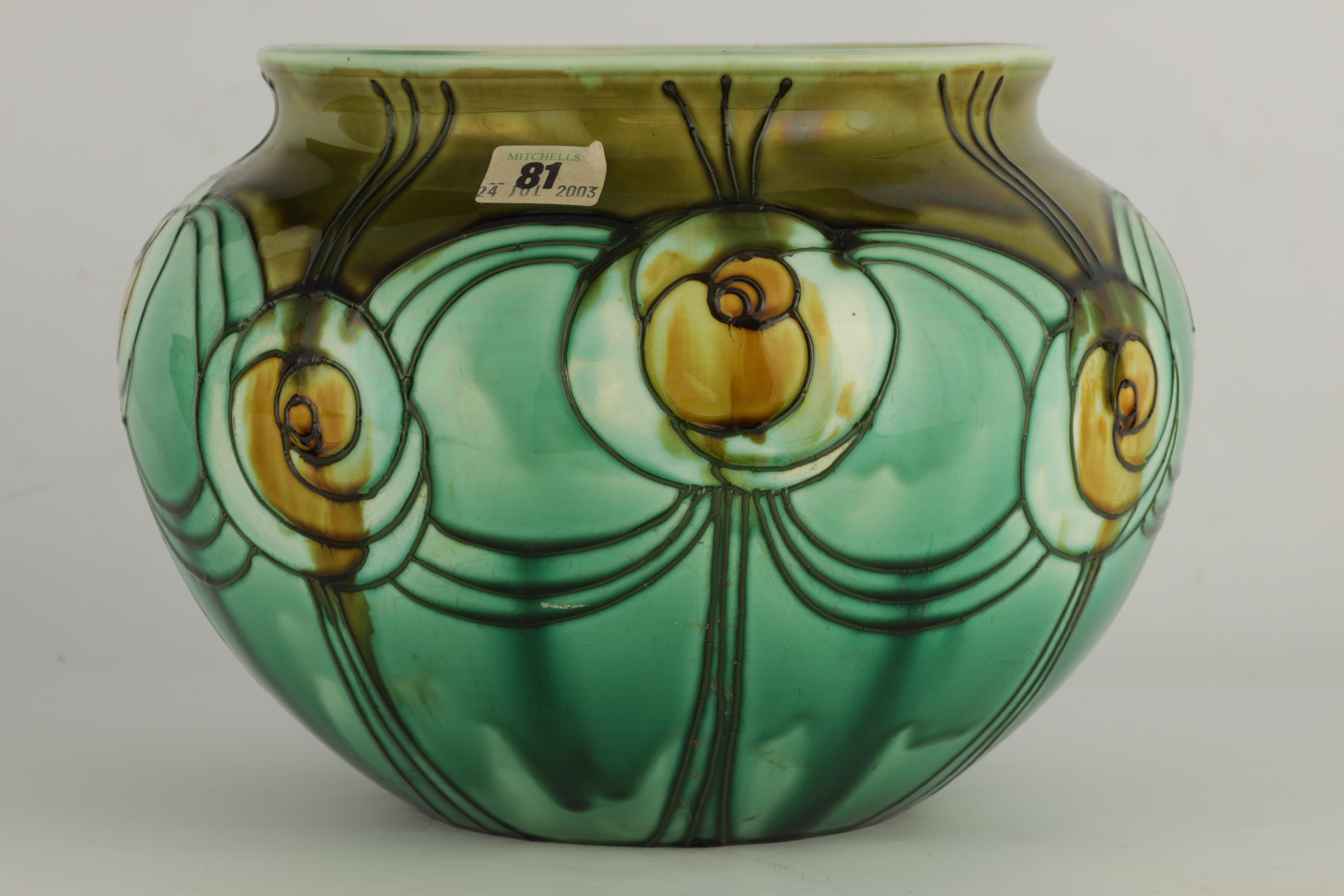 A MINTON LTD SECESSIONIST WARE LARGE BULBOUS JARDINIERE tube lined and decorated with stylised green - Image 4 of 5