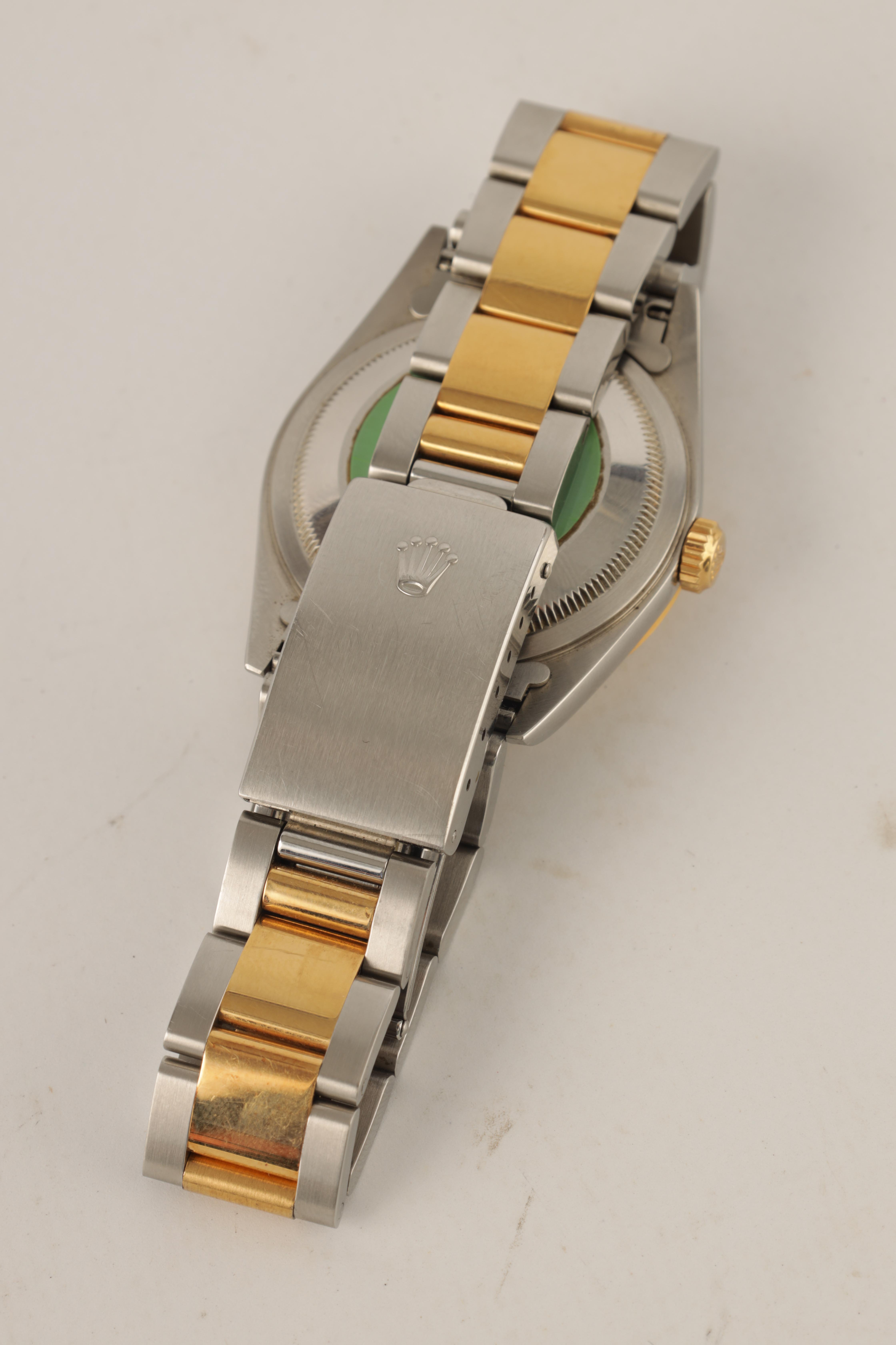 A GENTLEMAN'S STEEL AND 18CT GOLD ROLEX OYSTER PERPETUAL DATEJUST WRISTWATCH having an ivory pyramid - Image 4 of 5