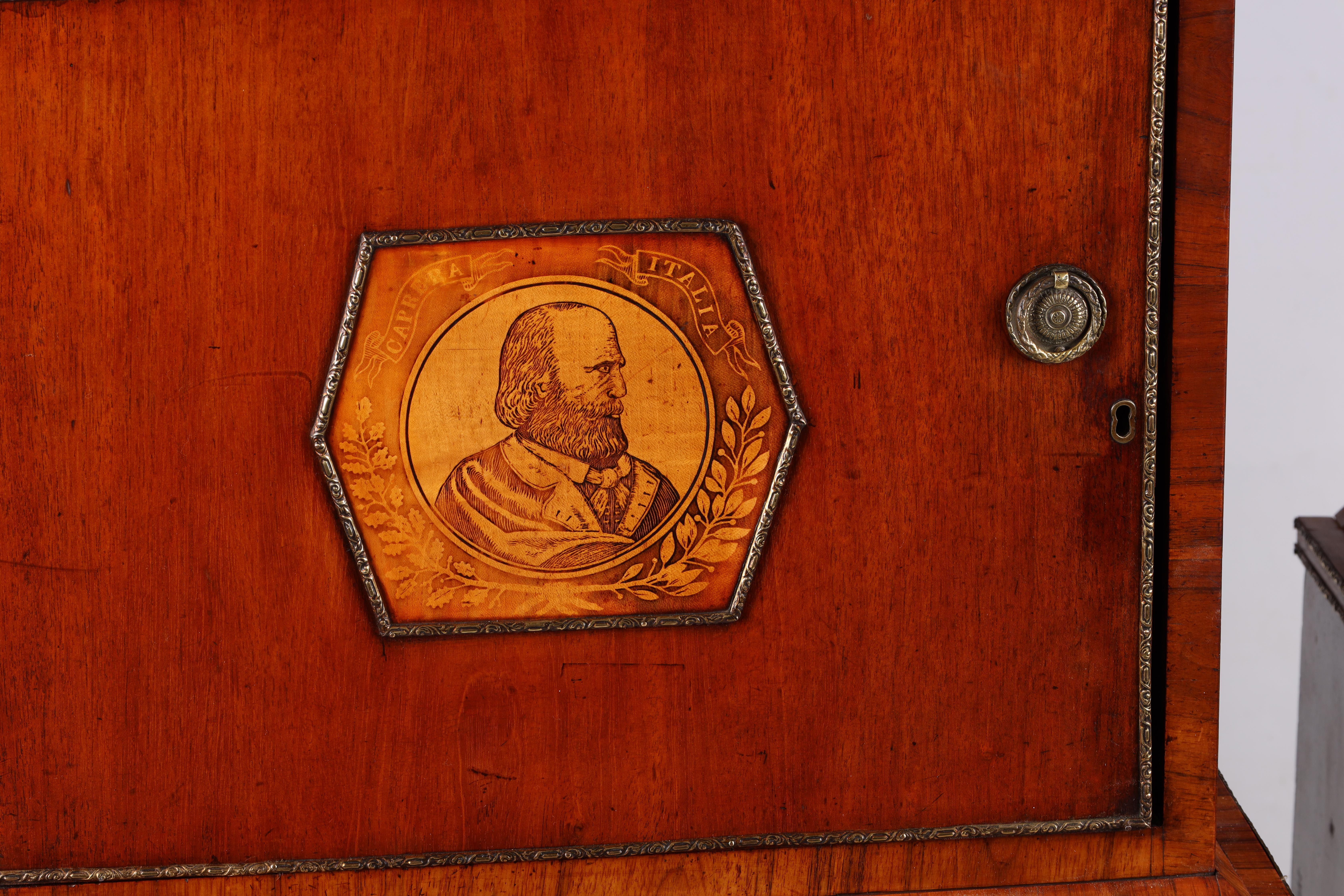 A LARGE PAIR OF GEORGE III KINGWOOD BANDED MAHOGANY PEDESTALS with unusual pen work panels depicting - Image 3 of 11