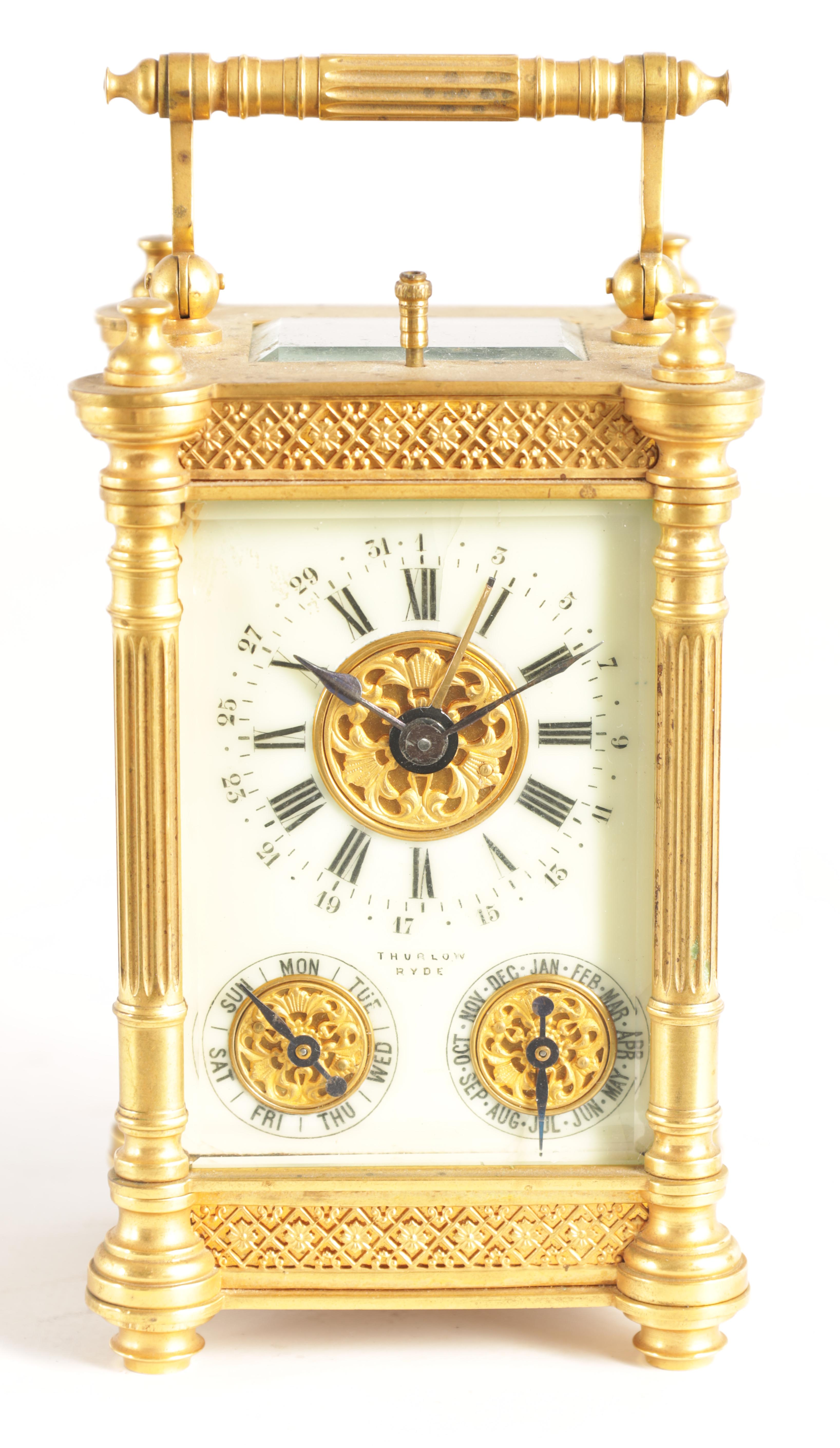 A LATE 19TH CENTURY FRENCH BRASS CARRIAGE CLOCK WITH CALENDAR the gilt case with pierced frieze - Image 2 of 6