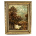 W PALMER AN EARLY 20TH CENTURY OIL ON CANVAS depicting a country cottage scene - signed and dated
