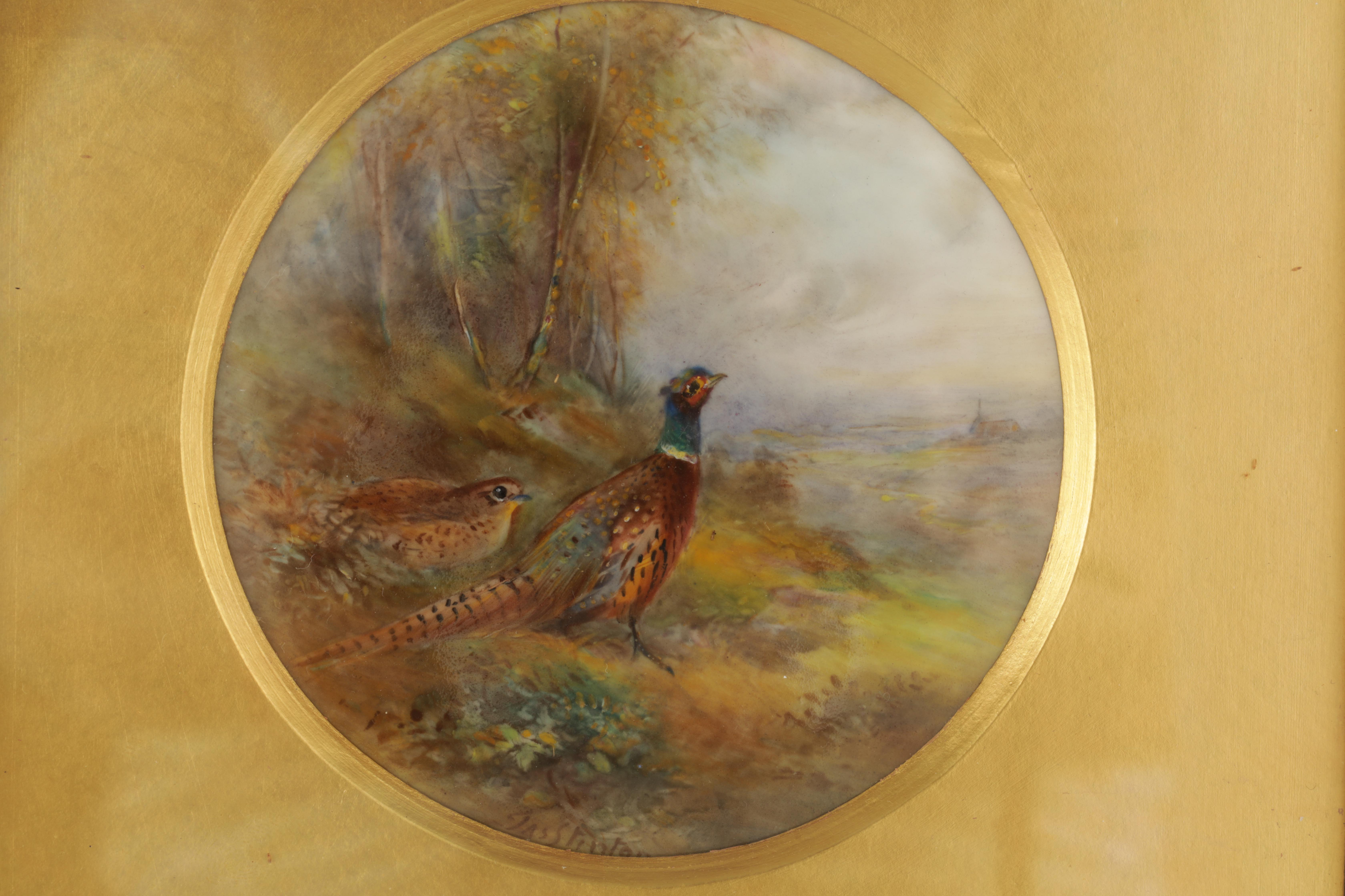 JAMES STINTON 1870-1961. A SIGNED PAIR OF ROYAL WORCESTER CIRCULAR PORCELAIN PLAQUES painted with - Image 4 of 8