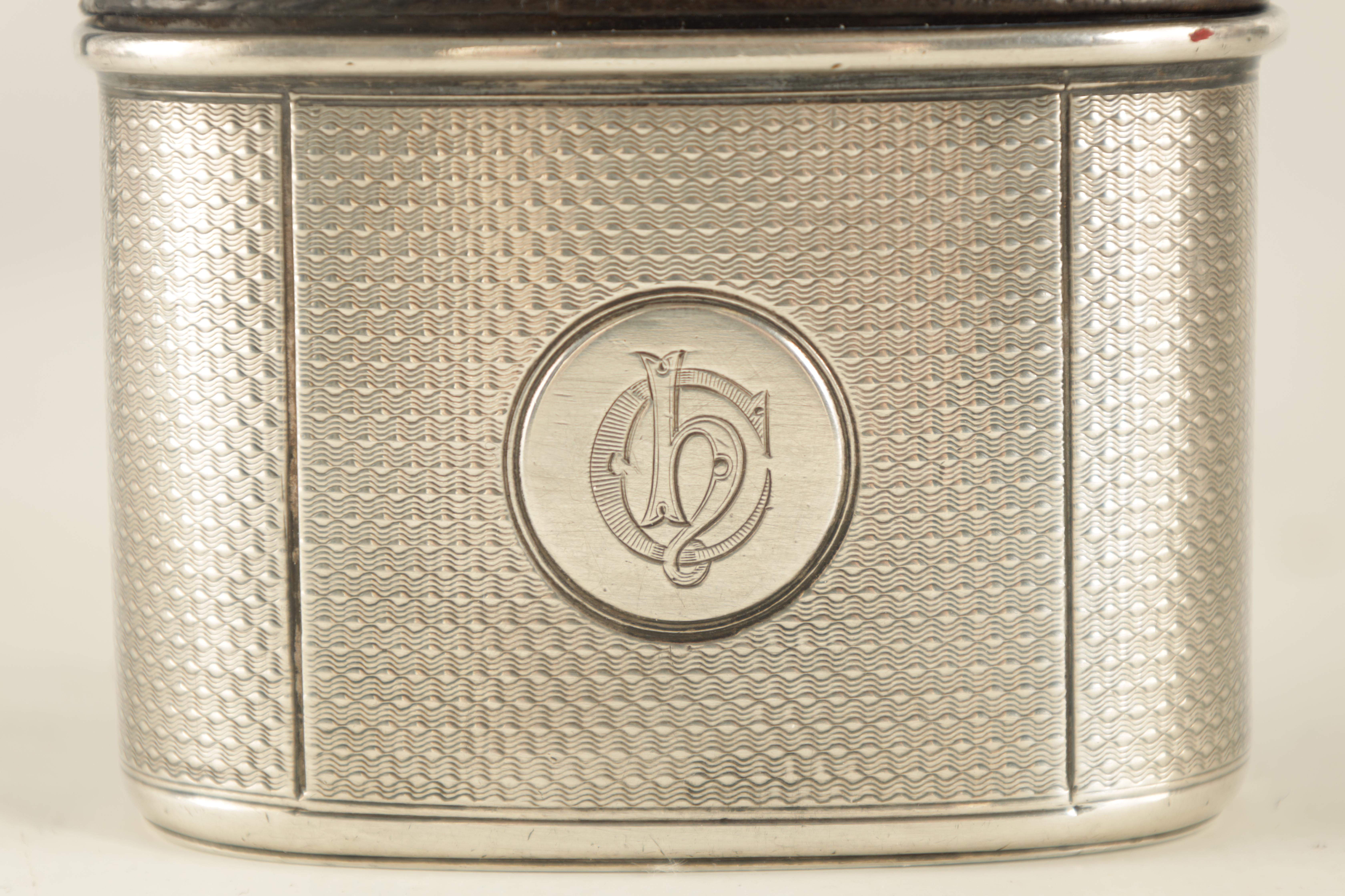 A VICTORIAN SILVER AND MOROCCAN LEATHER HIP FLASK RETAILED BY ASPREY 186 BOND STREET with engine- - Image 4 of 8