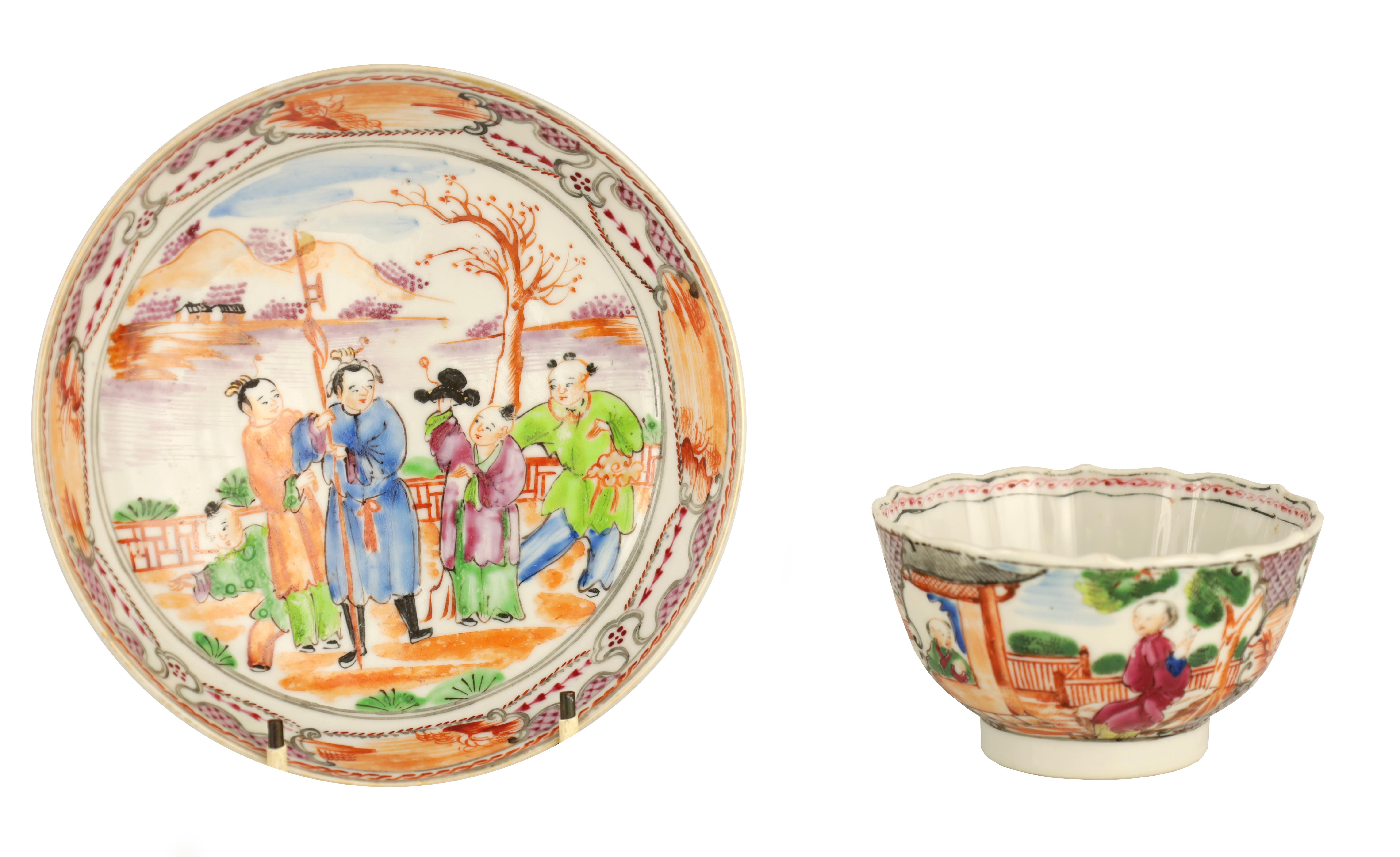 AN EARLY 19TH CENTURY NEW HALL PORCELAIN TEA CUP AND SAUCER decorated in 'The Boy in the Window'