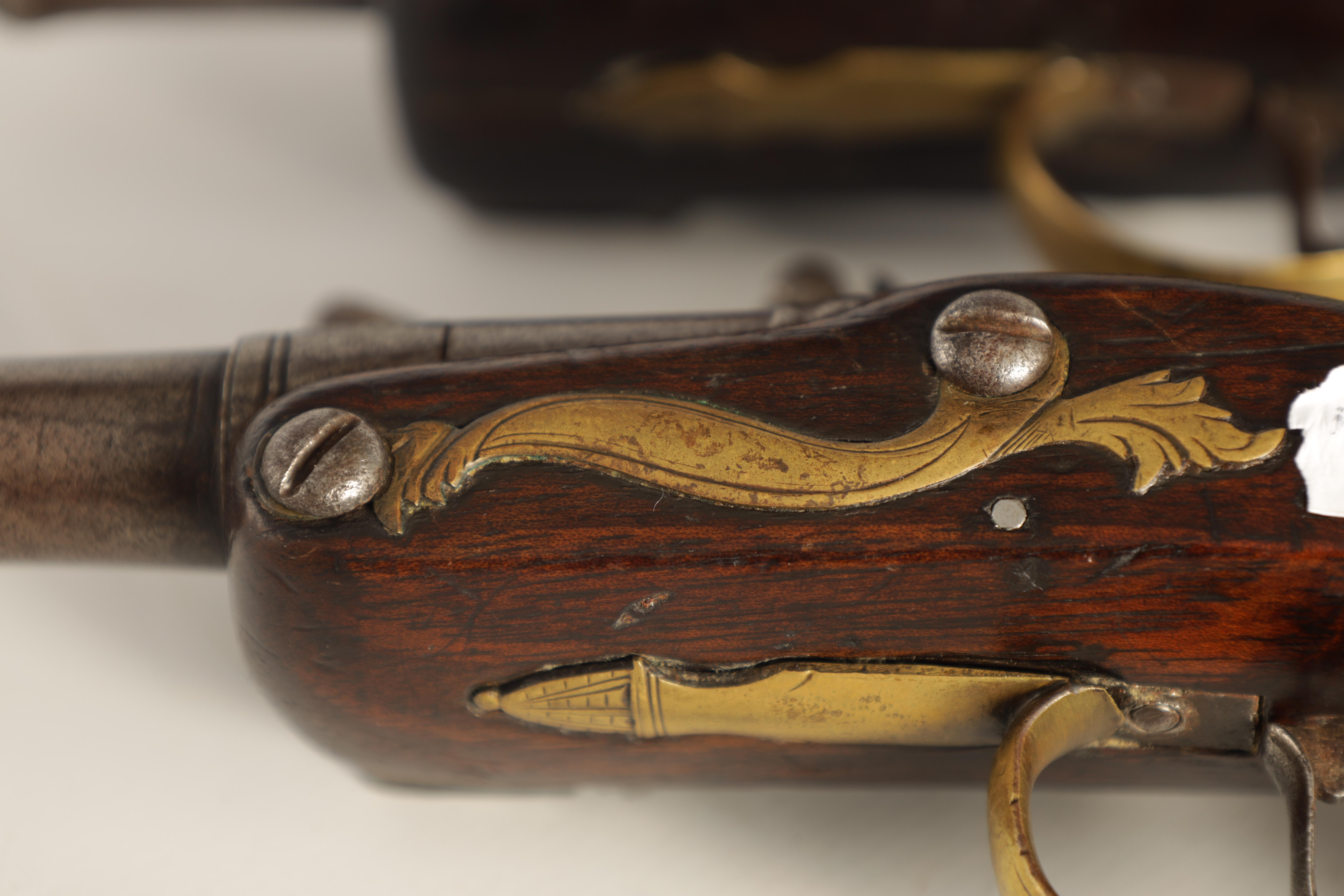T. JONES. A PAIR OF EARLY 18TH CENTURY FLINTLOCK POCKET PISTOLS with turn-off cannon barrel, - Image 10 of 14