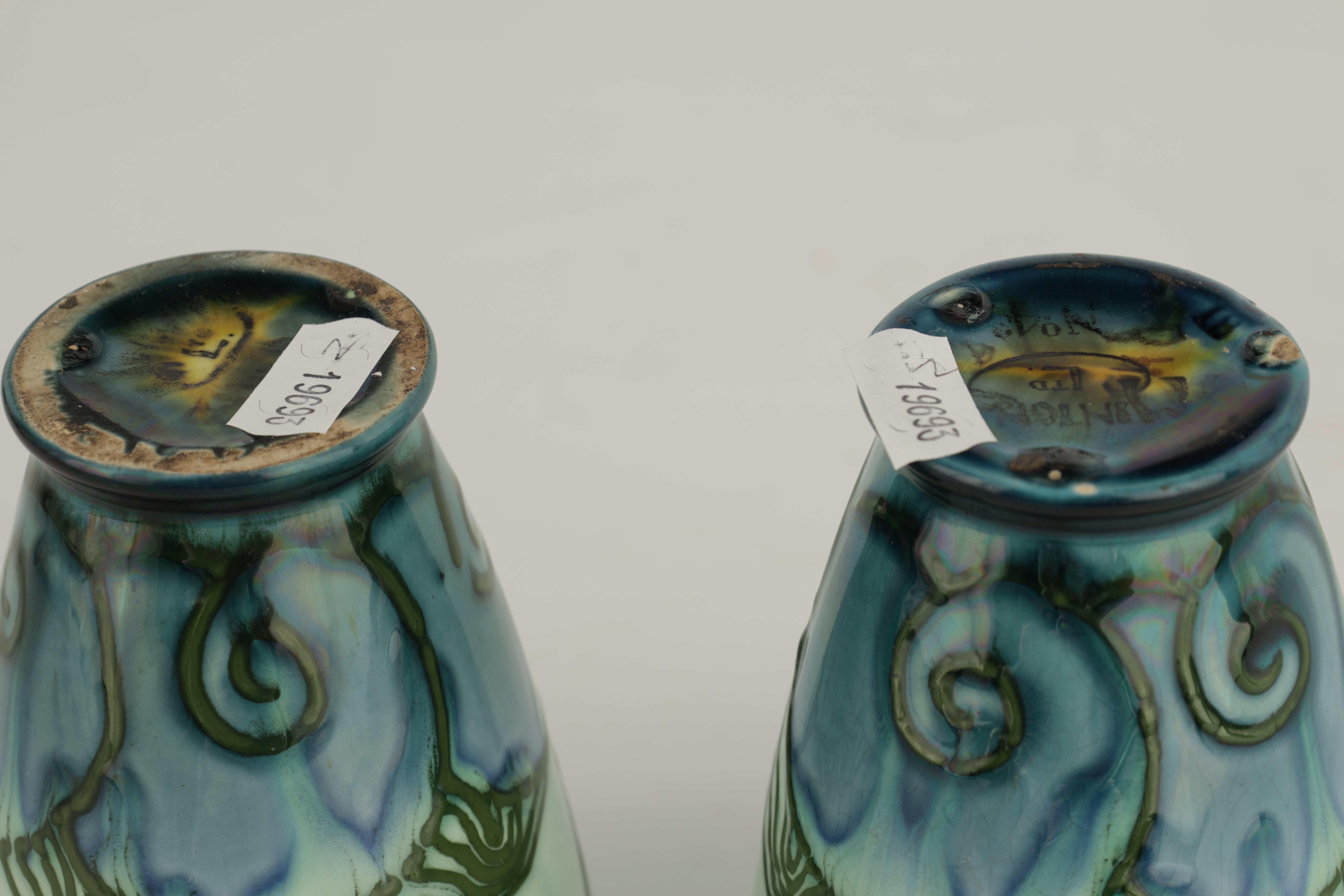 A PAIR OF MINTON LTD SECESSIONIST WARE TAPERING BEAKER VASES tube lined and decorated with - Image 5 of 6