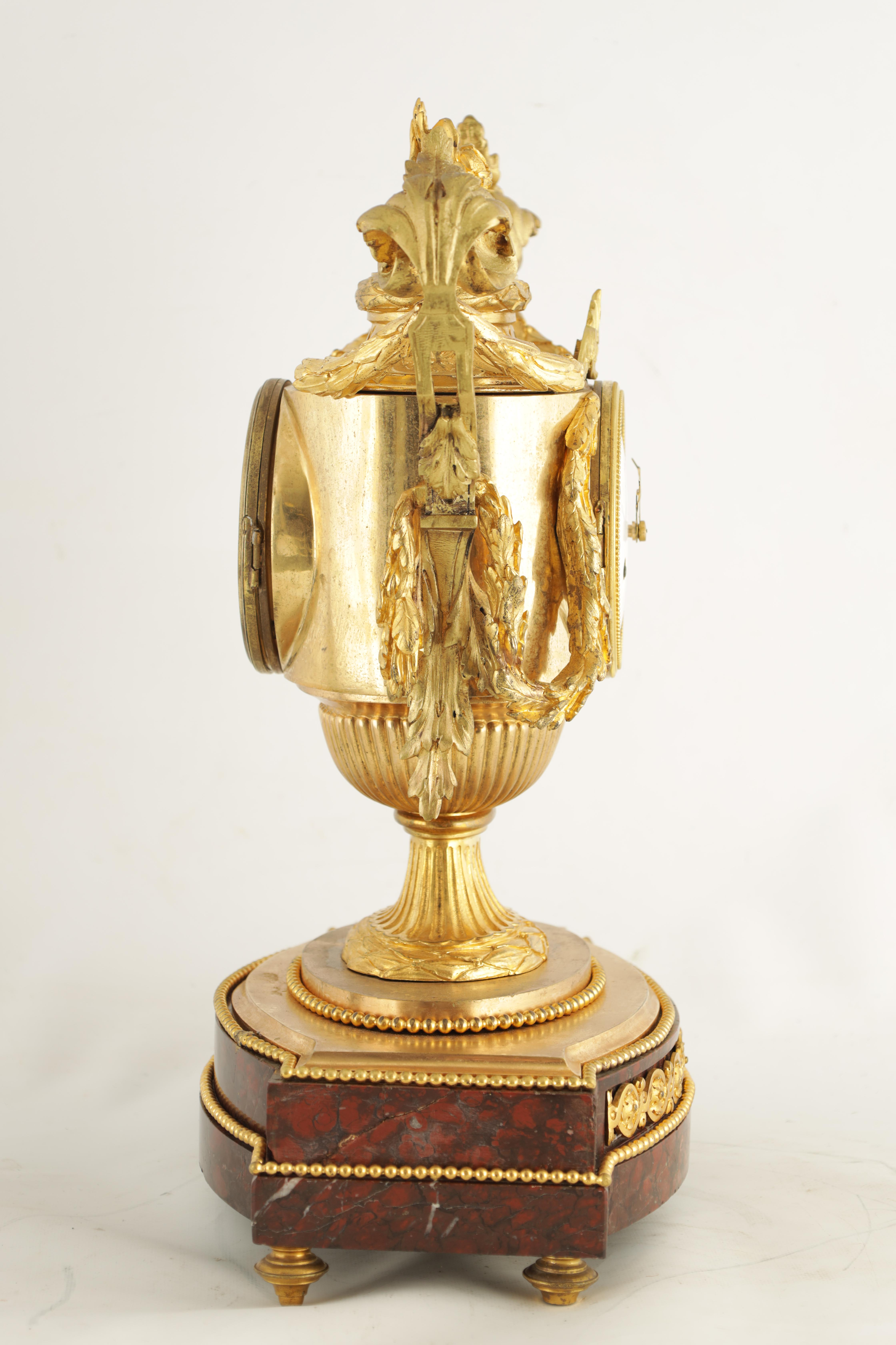 GASTON JOLY, A PARIS AN IMPRESSIVE EARLY 19TH CENTURY FRENCH ORMOLU AND ROUGE MARBLE URN SHAPED - Image 5 of 7