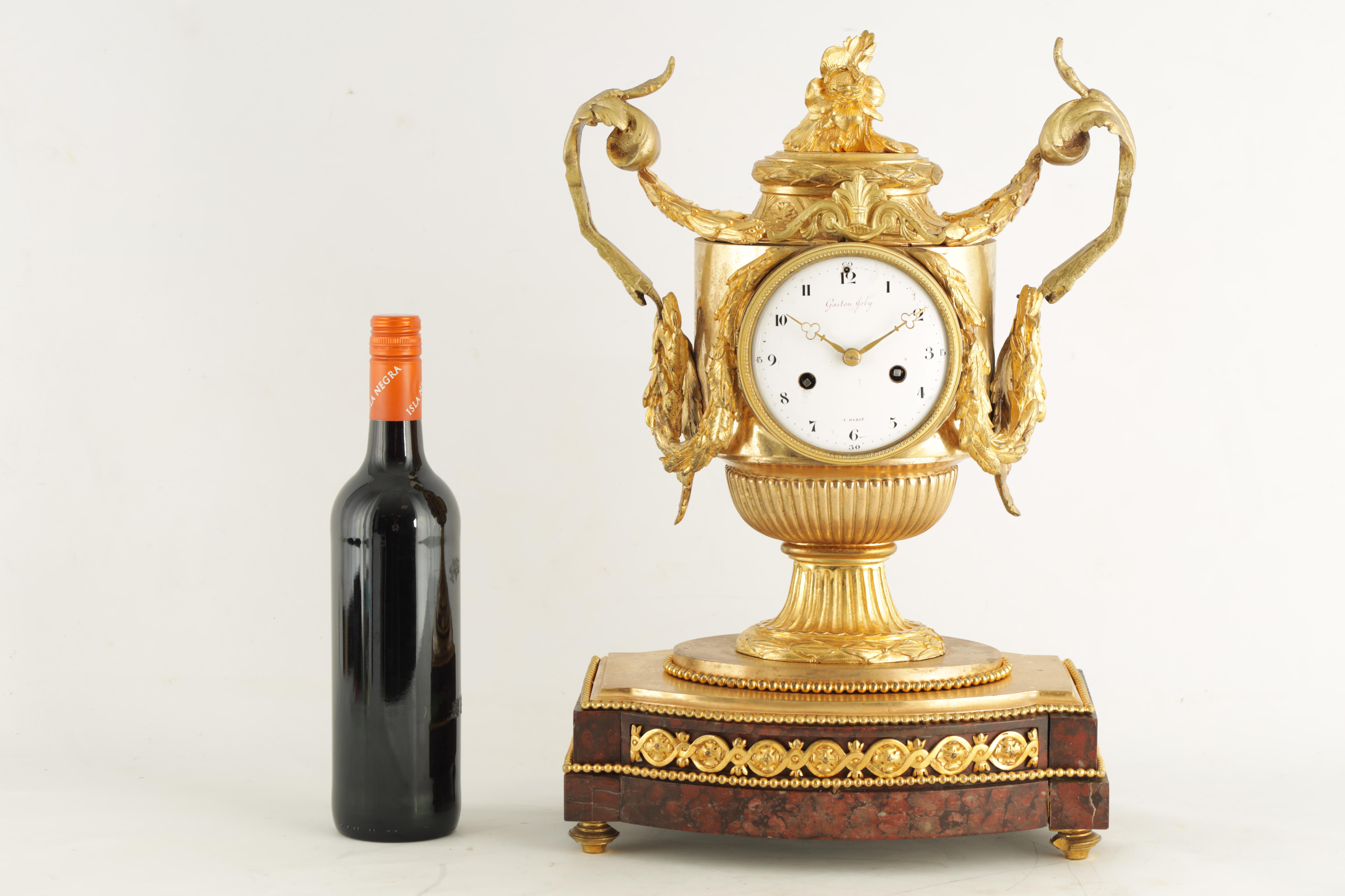 GASTON JOLY, A PARIS AN IMPRESSIVE EARLY 19TH CENTURY FRENCH ORMOLU AND ROUGE MARBLE URN SHAPED - Image 4 of 7