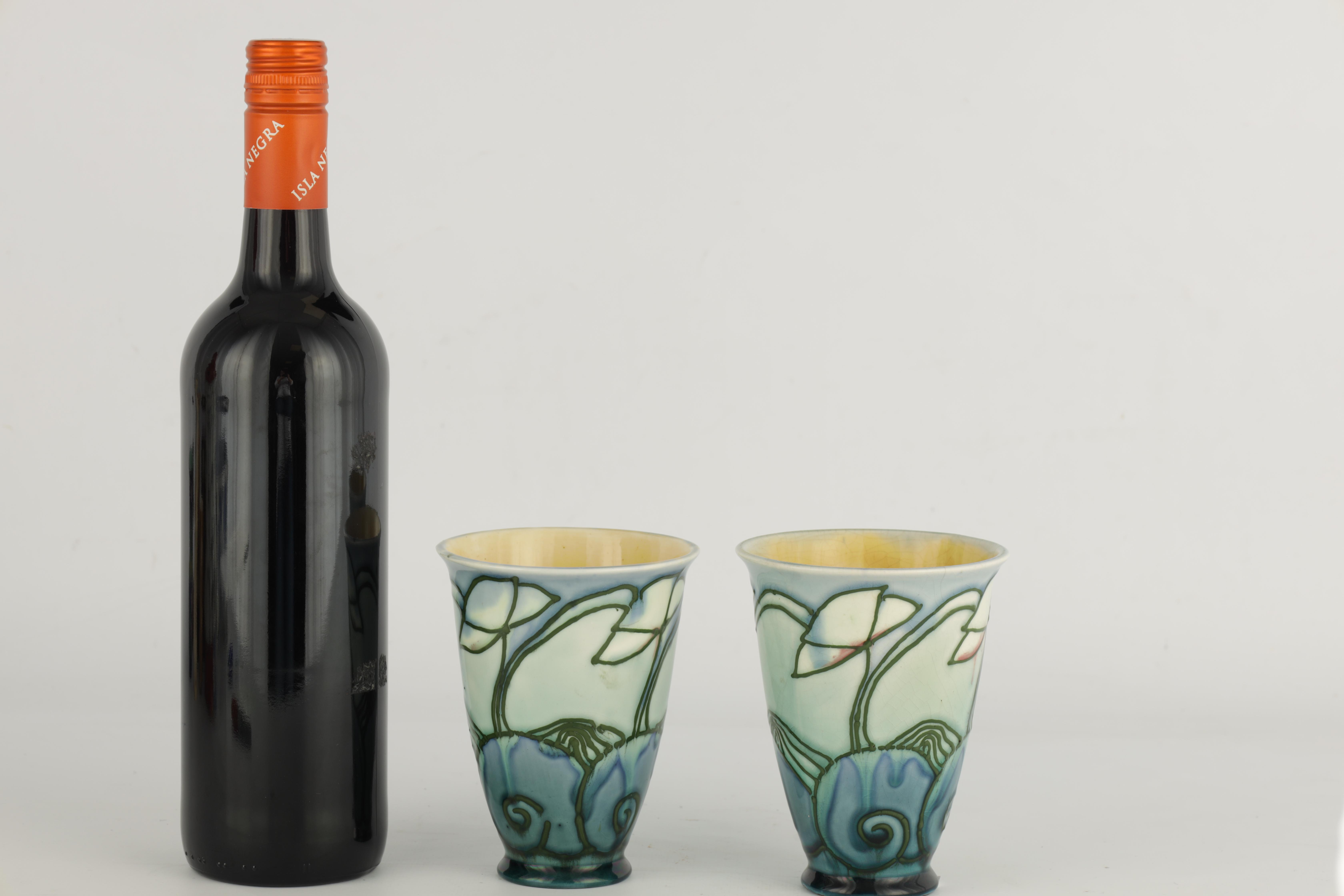 A PAIR OF MINTON LTD SECESSIONIST WARE TAPERING BEAKER VASES tube lined and decorated with - Image 2 of 6