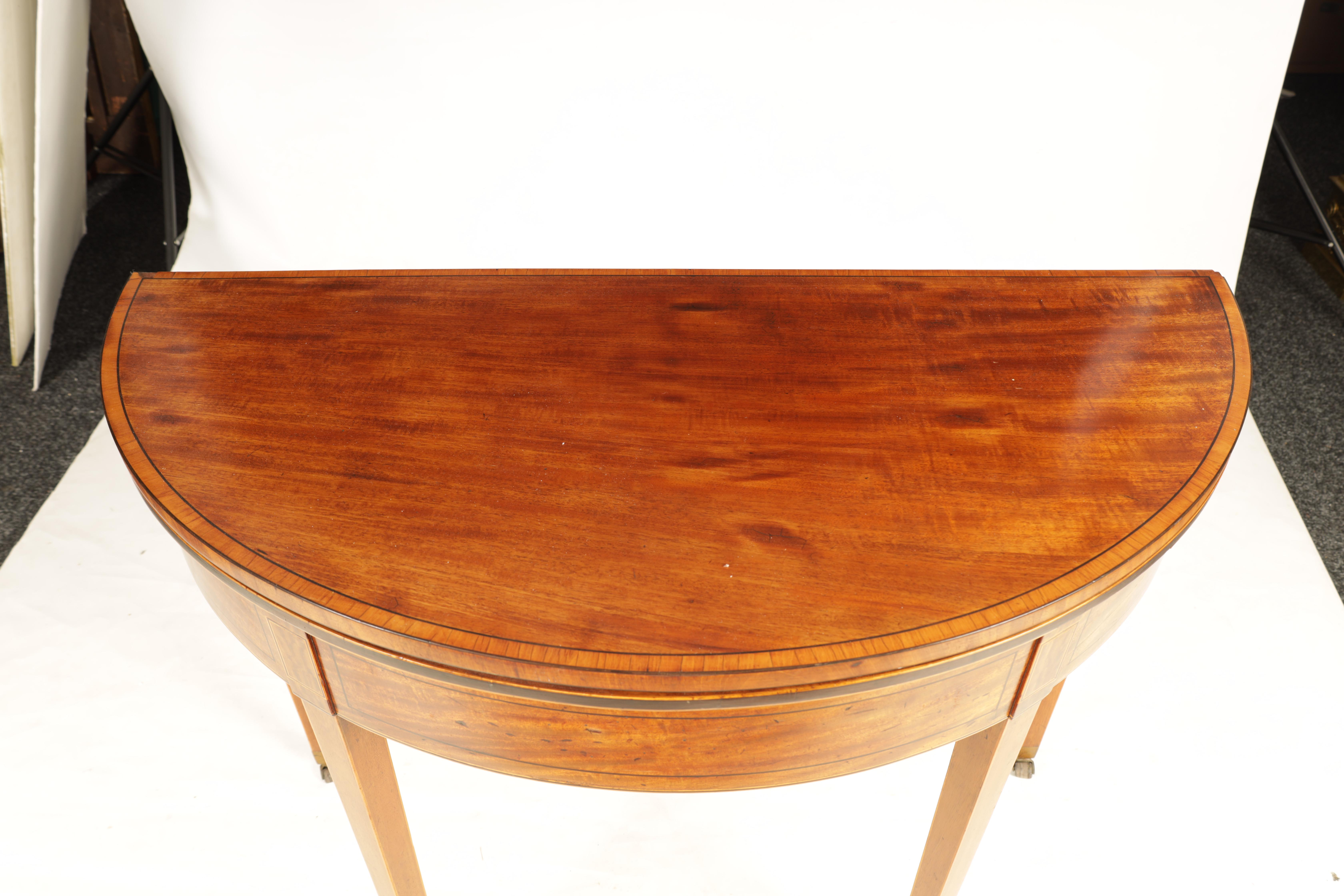 A GEORGE III FIGURED SATINWOOD D END TEA TABLE with hinged top and double gate rear legs; standing - Image 4 of 8