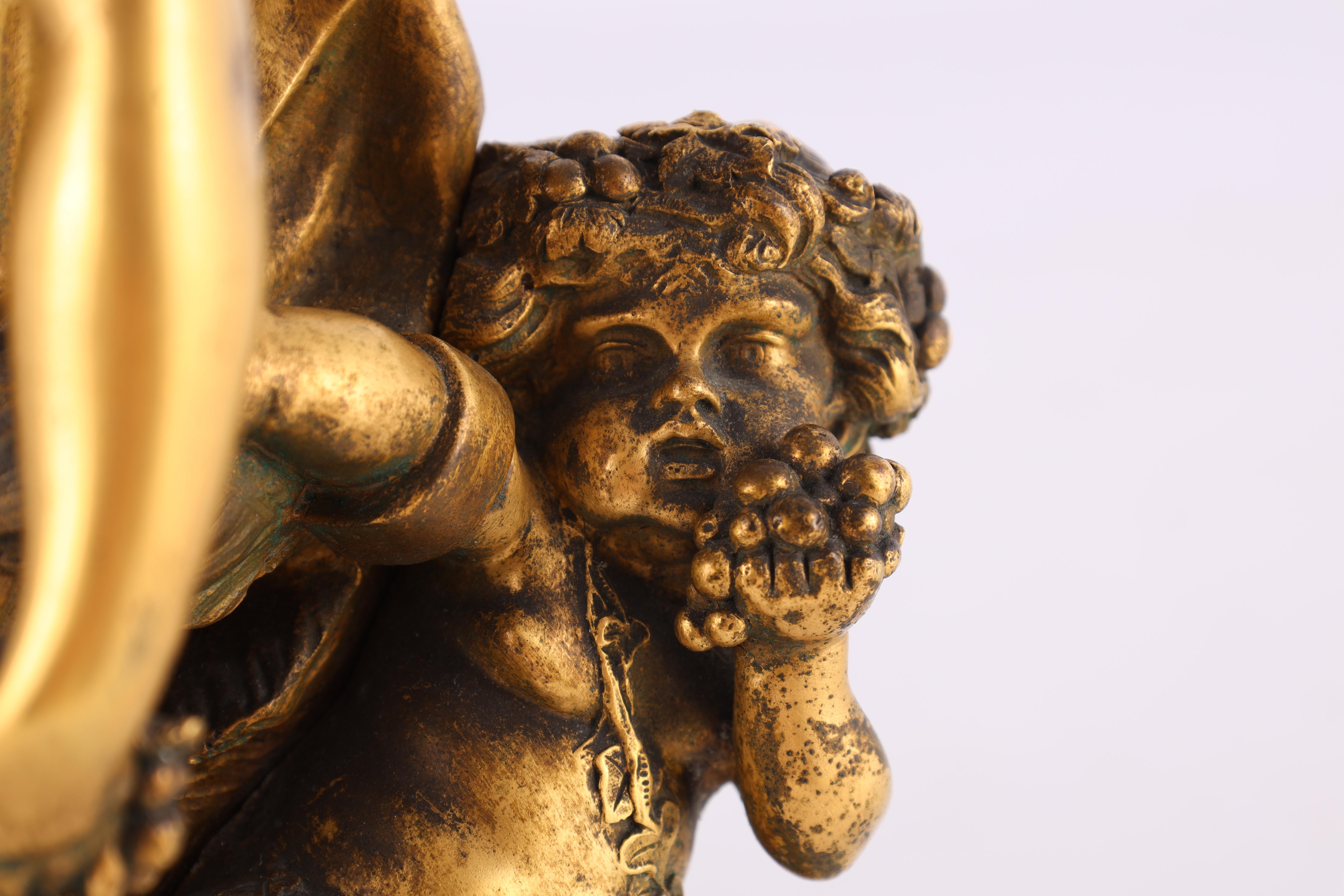 AFTER MICHAEL CLAUDE CLODION A LATE 19TH CENTURY FRENCH GILT BRONZE SCULPTURE titled 'Bacchanalia' - Image 6 of 10