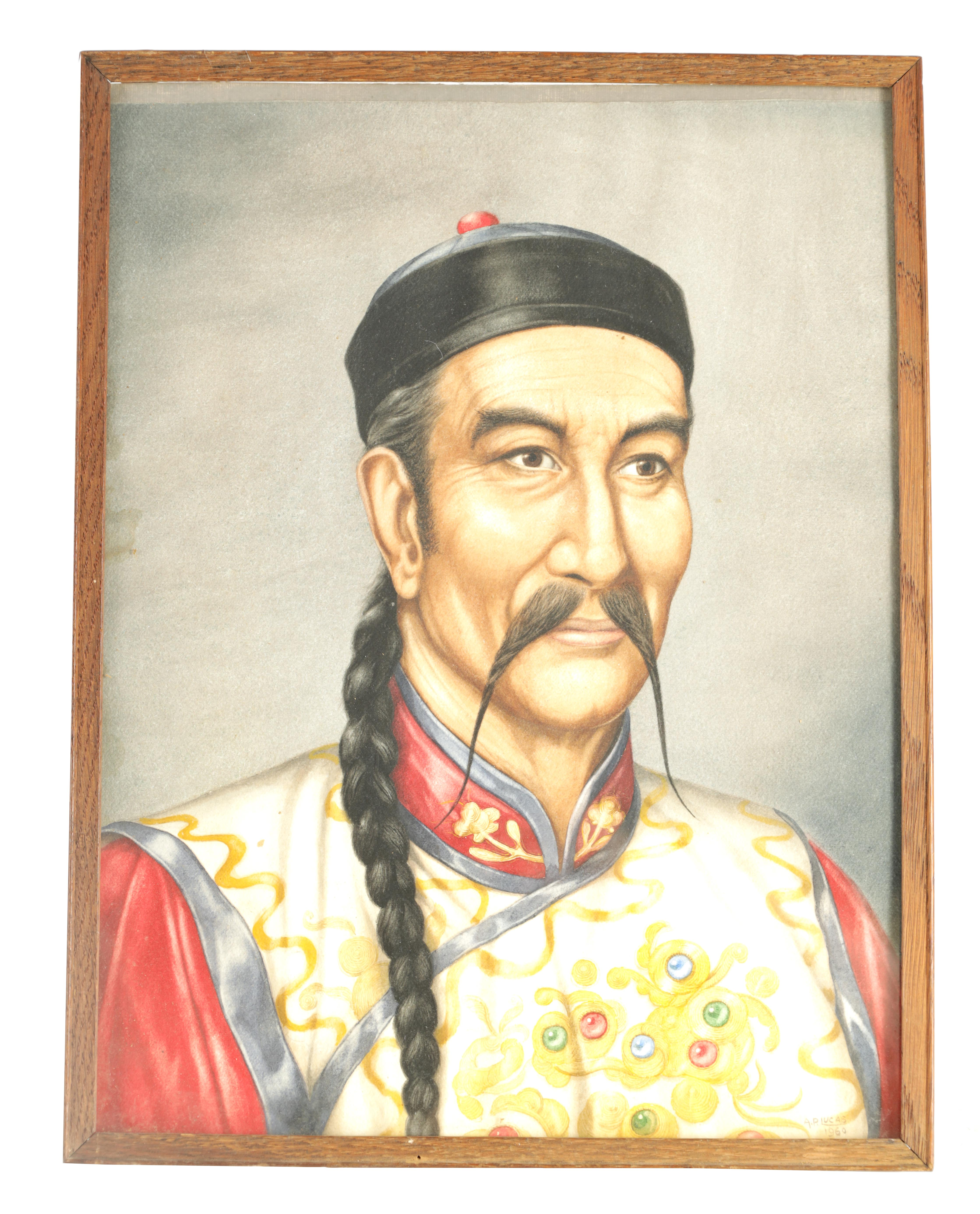 A MID 20TH CENTURY WATERCOLOUR depicting a portrait of a Chinese Dignatory signed by A P Lucas dated