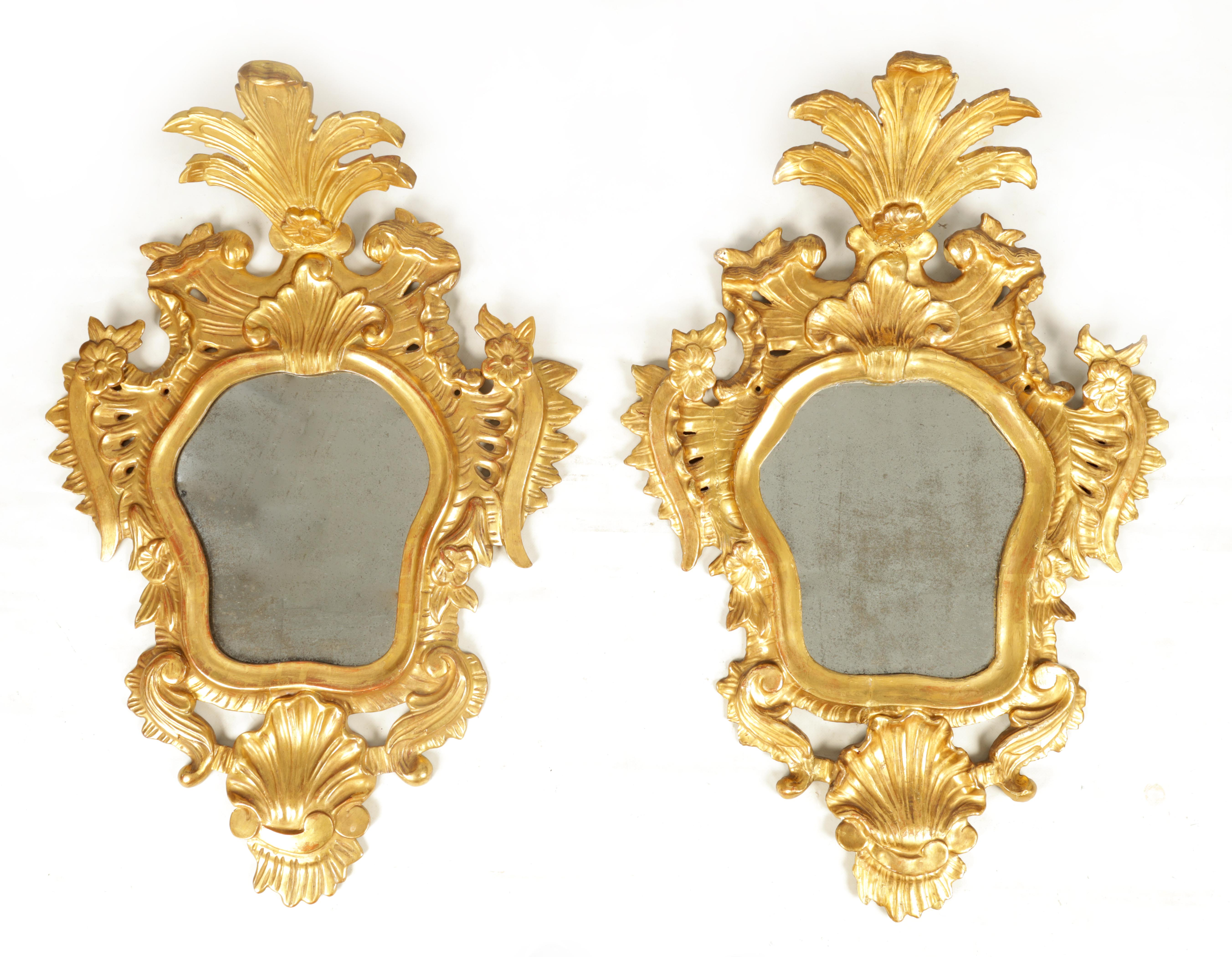 A PAIR OF 19TH CENTURY CARVED GILT WOOD ITALIAN FLORENTINE MIRRORS with leaf and shell carved frames