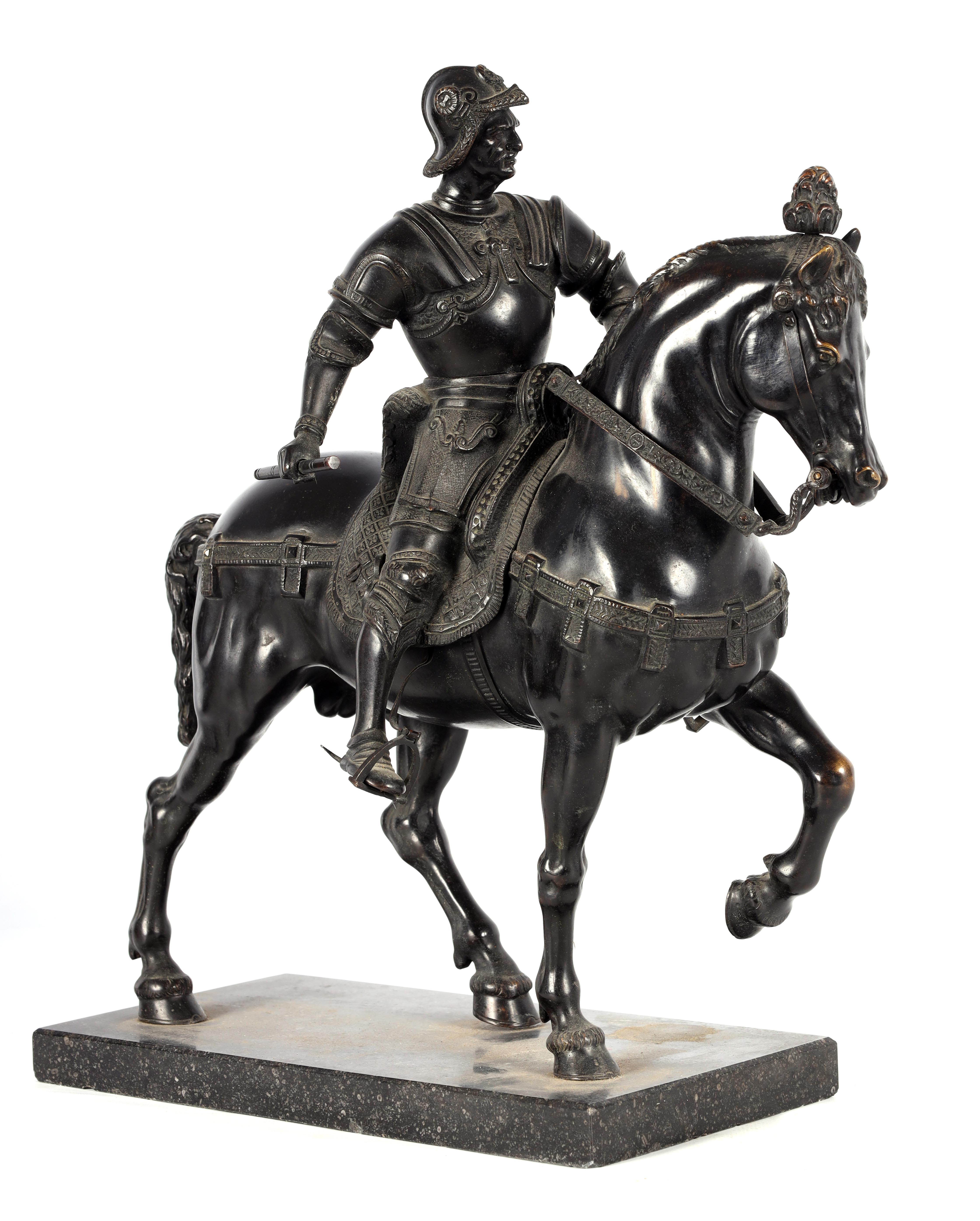 A LATE 19TH CENTURY PATINATED BRONZE EQUESTRIAN SCULPTURE modelled as a Knight on horseback of