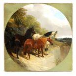 JOHN FREDERICK HERRING SNR. 1795-1865 TONDO OIL ON CANVAS Three horses beside a lake 40.5cm wide -