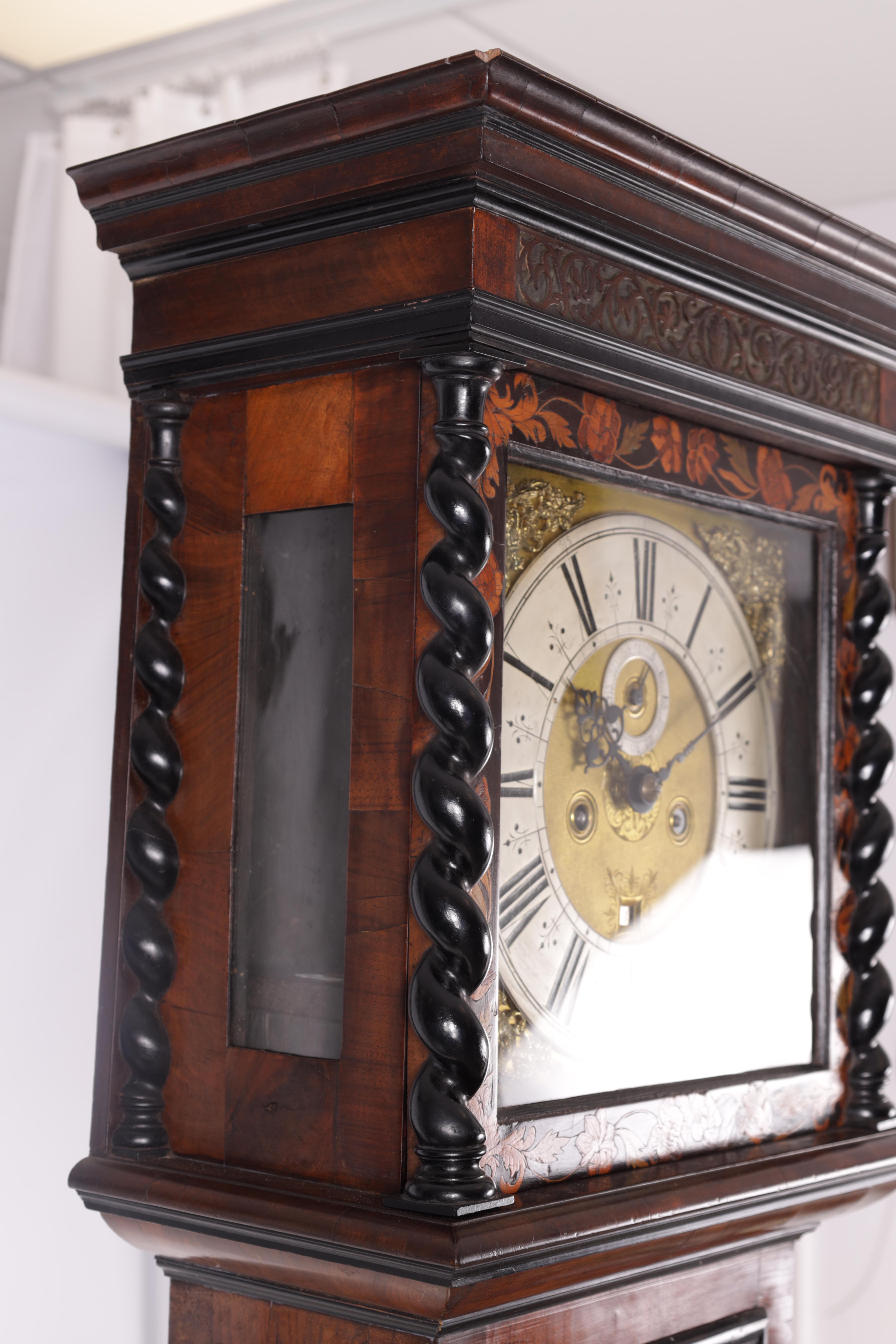 """ROBERT DINGLY, LONDON A LATE 17TH CENTURY 11"""" MARQUETRY INLAID WALNUT LONGCASE CLOCK the hood with - Image 8 of 8"""