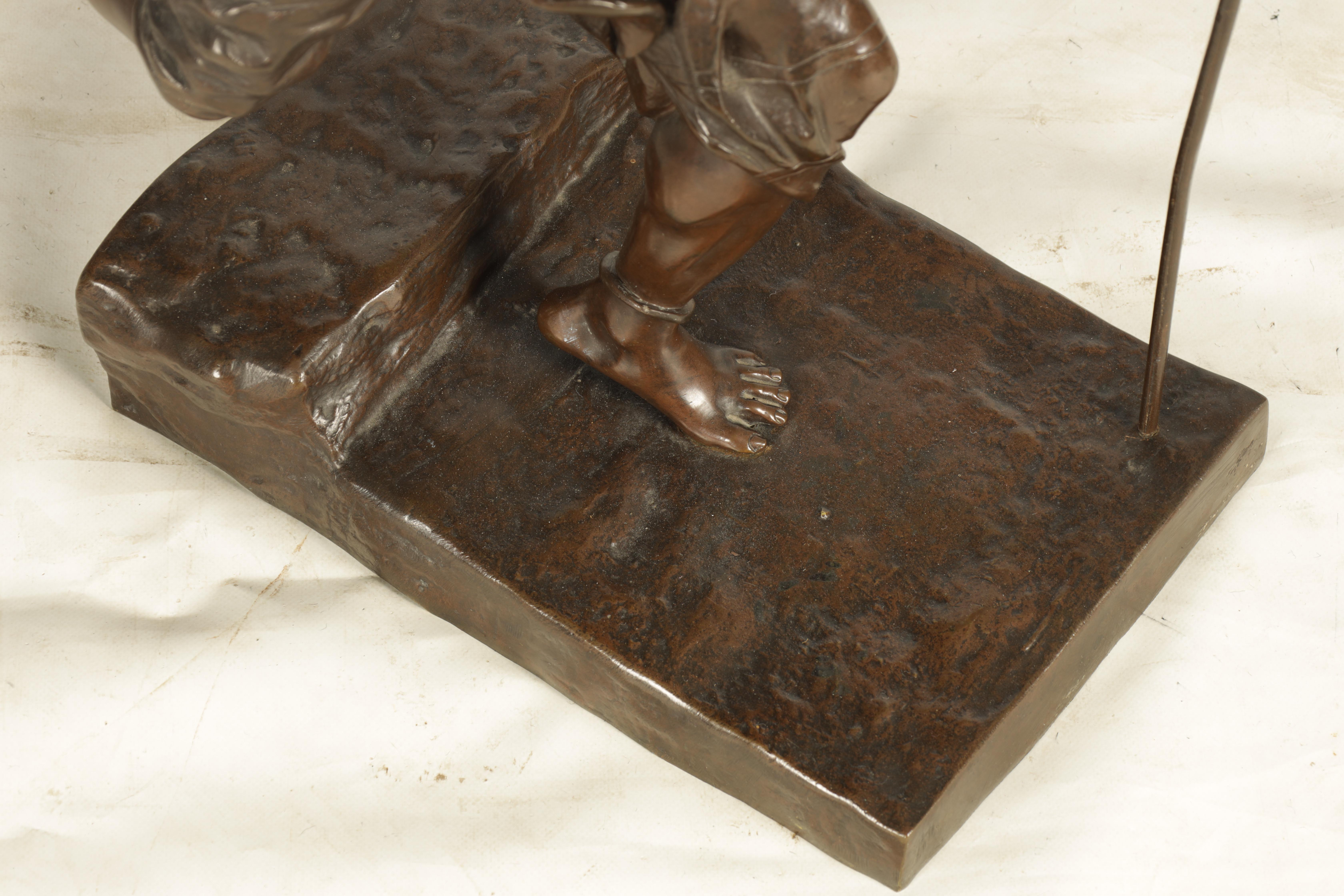 A 19TH CENTURY FRENCH FIGURAL BRONZE depicting an Eastern male figure walking with shepherds crook - Image 4 of 5